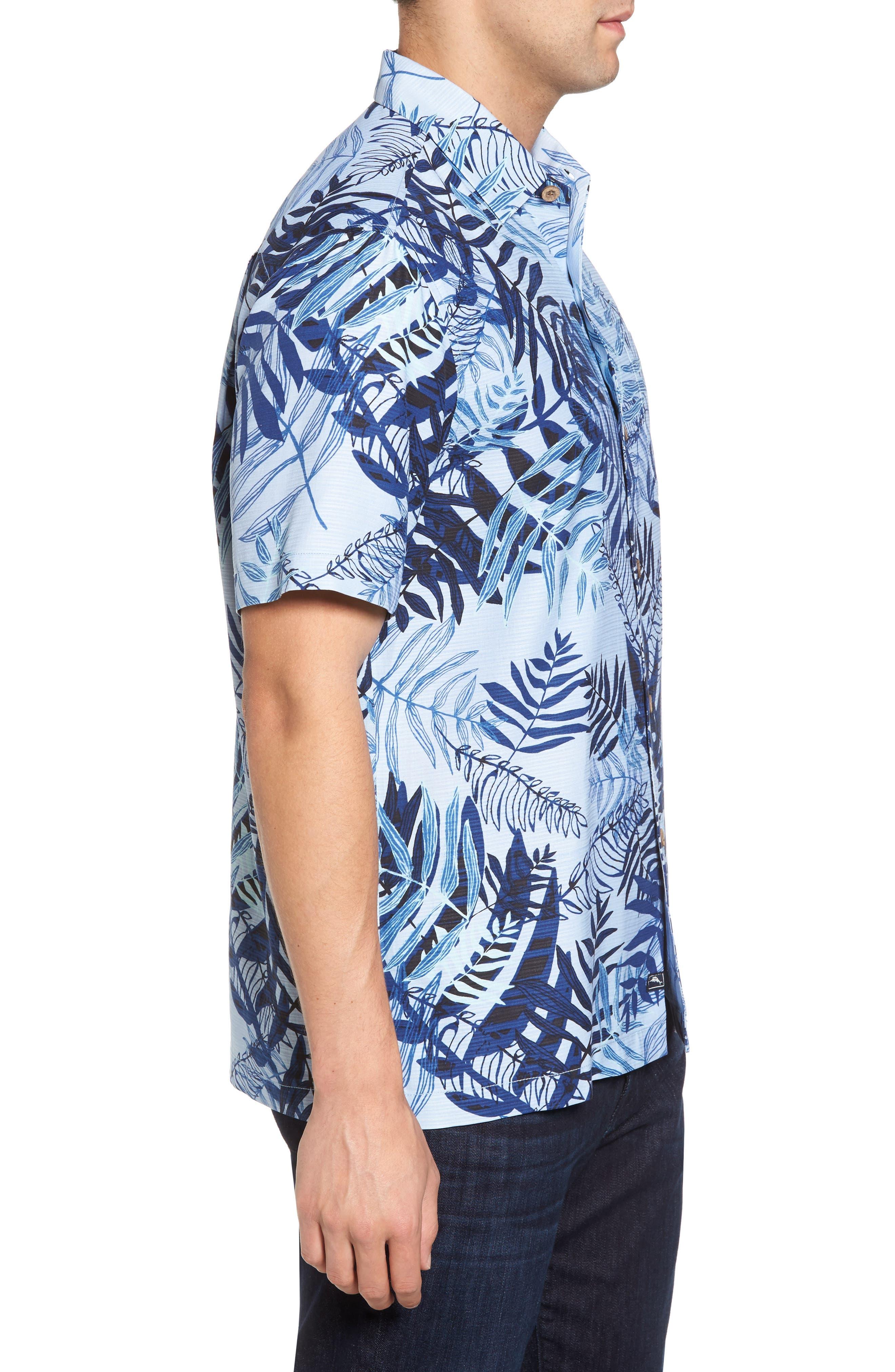 Glade Tropics Regular Fit Silk Sport Shirt,                             Alternate thumbnail 3, color,                             Fresh Air