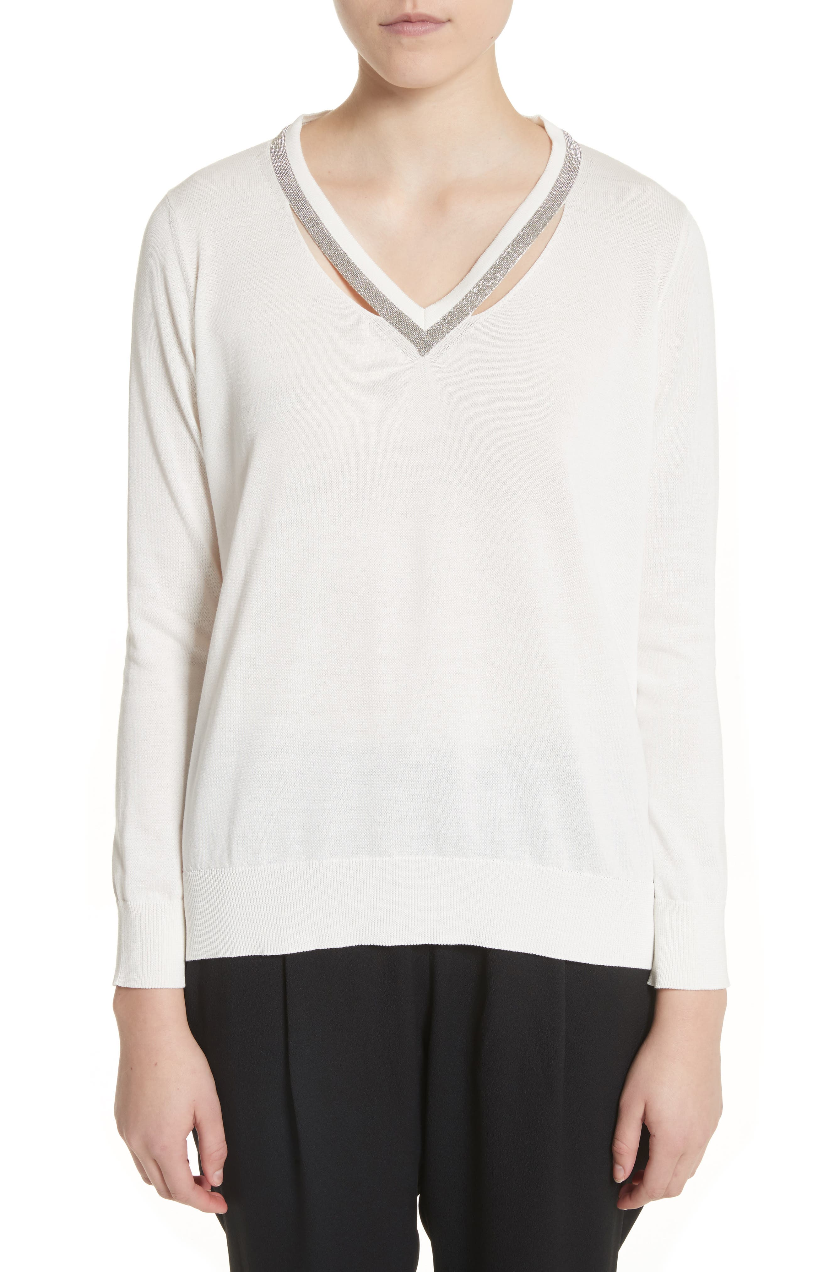 Embellished Cutout Cotton Sweater,                         Main,                         color, White