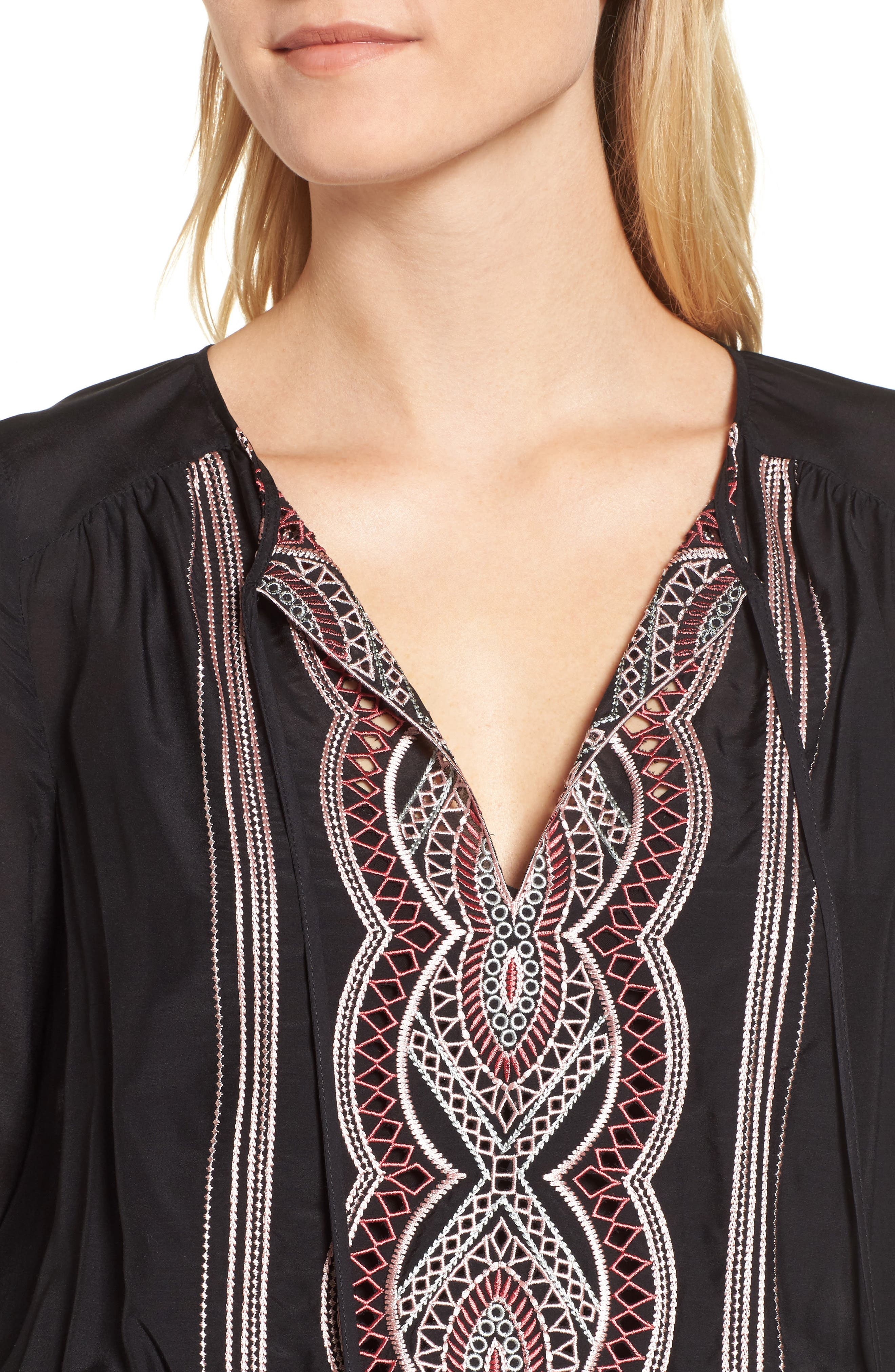Embroidered Blouson Minidress,                             Alternate thumbnail 4, color,                             Black
