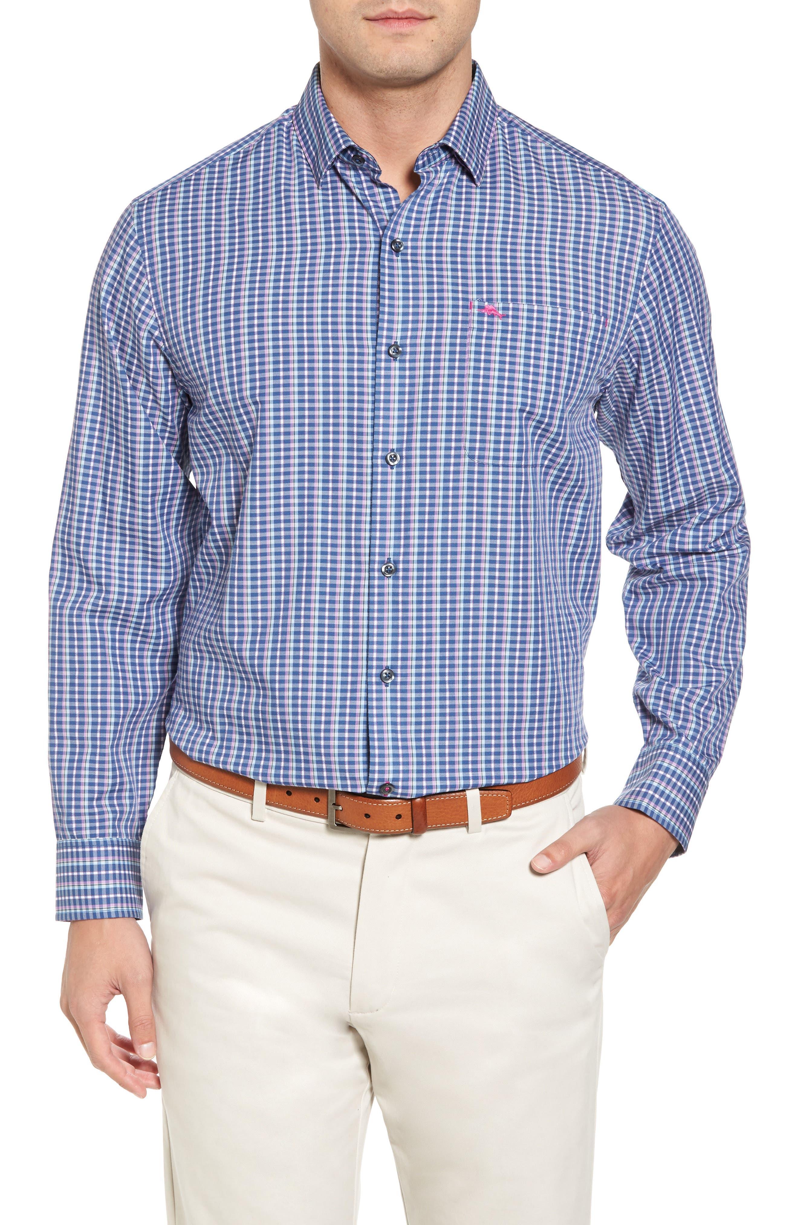 Cypress Cove Classic Fit Plaid Sport Shirt,                         Main,                         color, Kingdom Blue