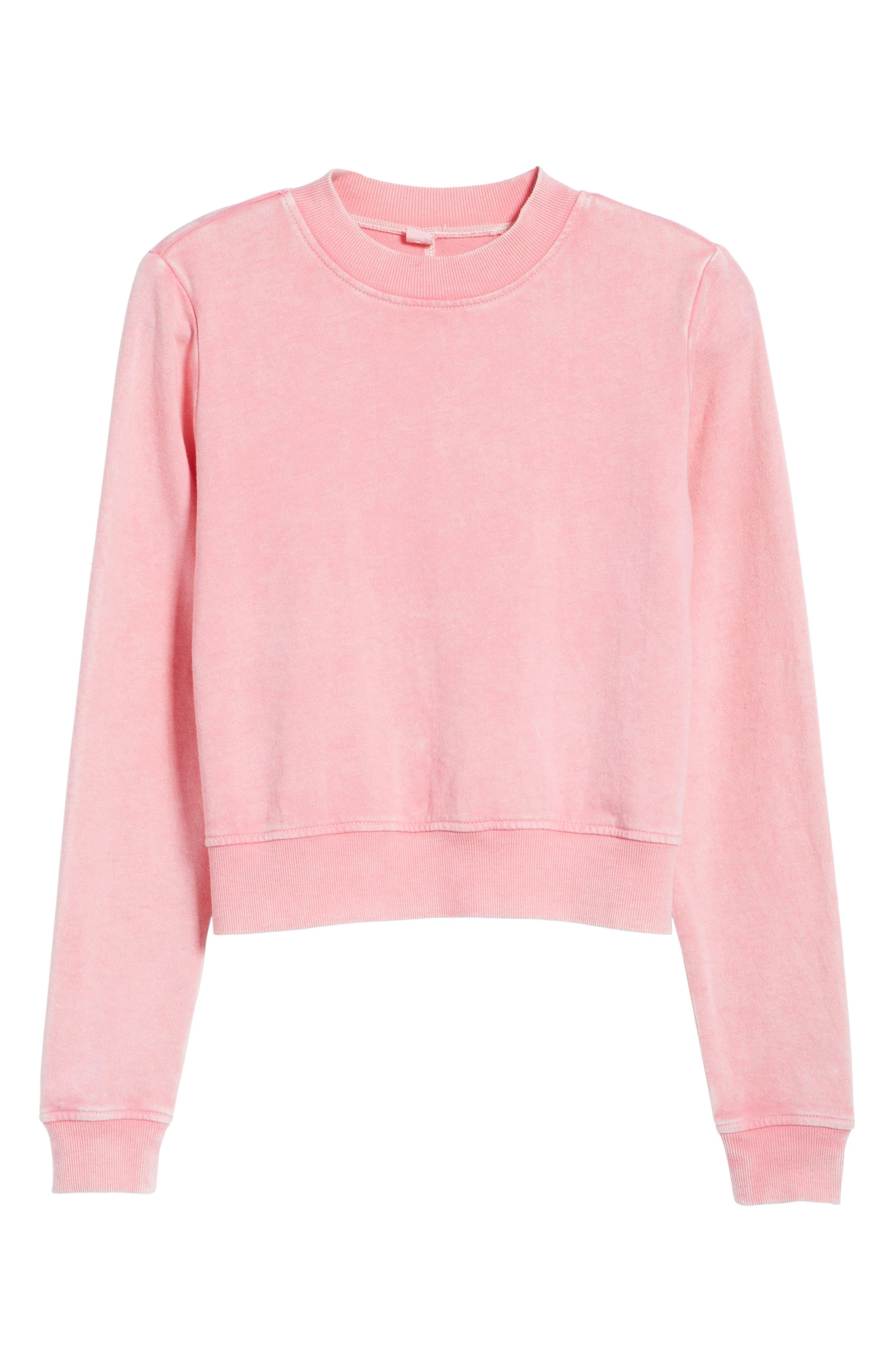Washed Crop Sweatshirt,                             Alternate thumbnail 6, color,                             Pink