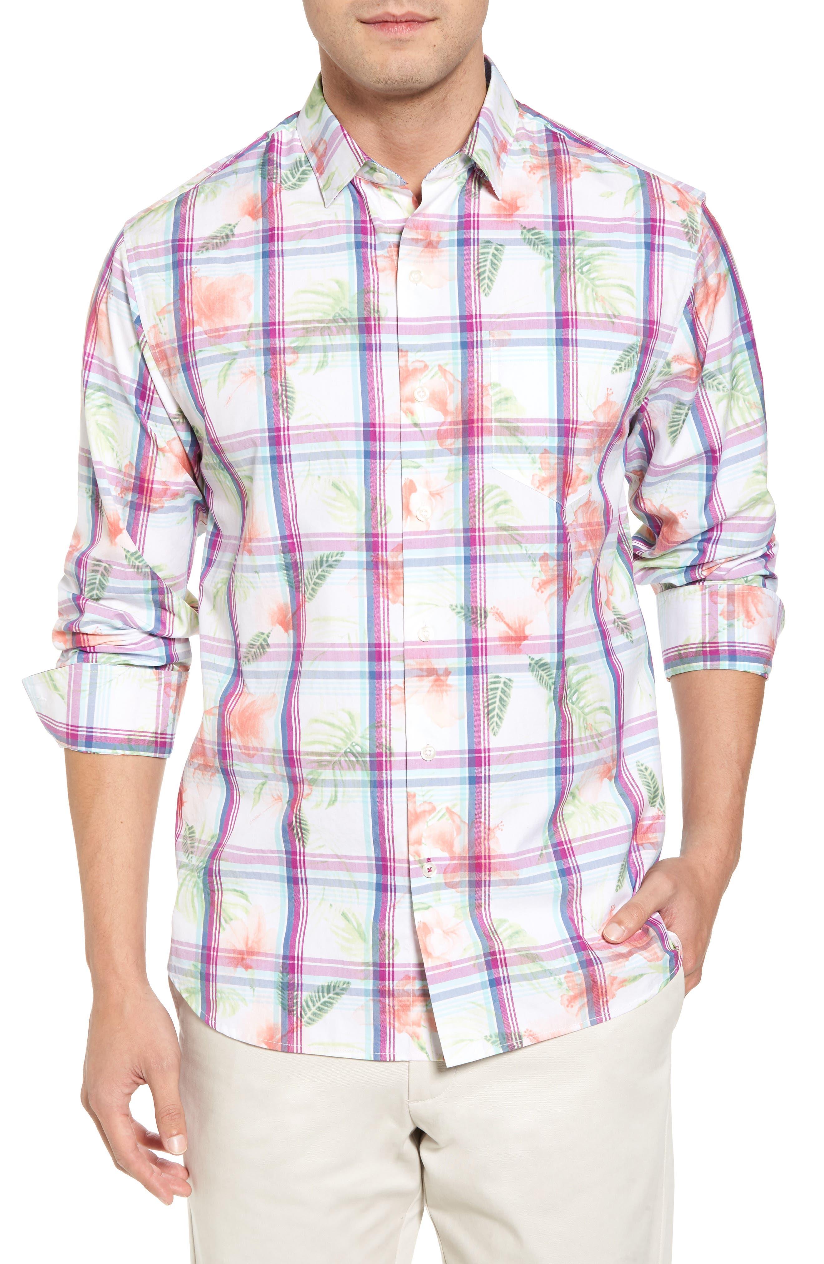 Vedado Regular Fit Plaid Sport Shirt,                             Main thumbnail 1, color,                             White