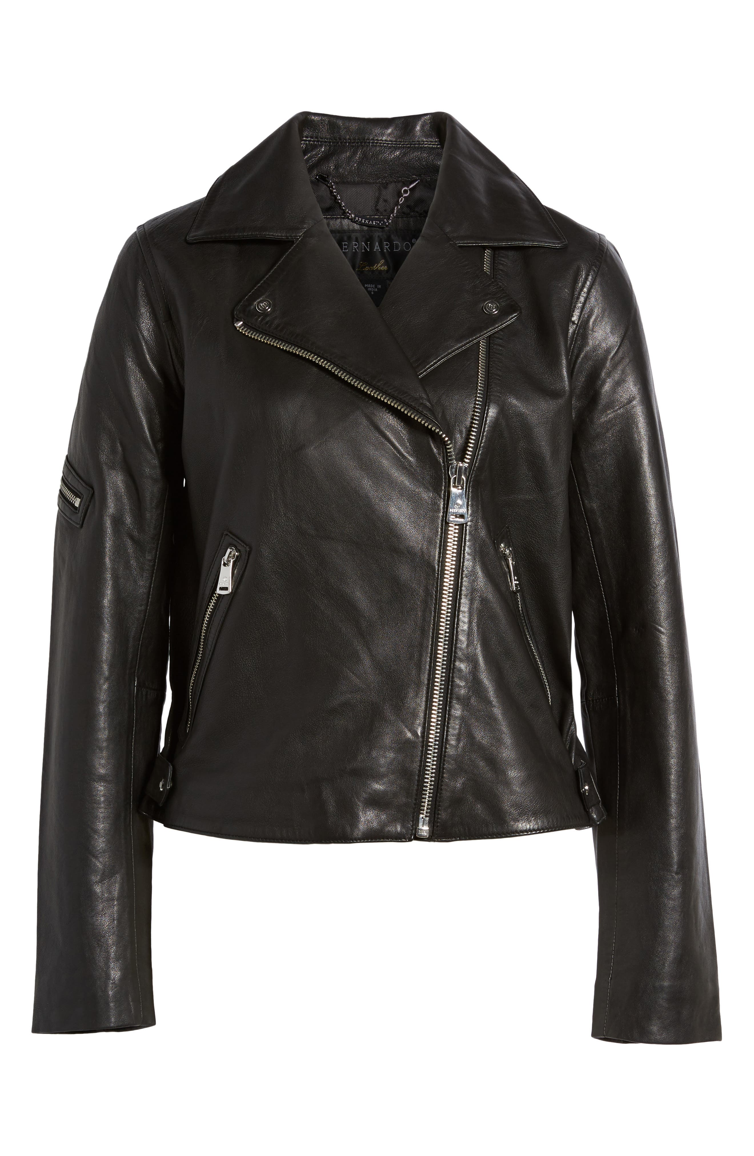 Kirwin Leather Moto Jacket,                             Alternate thumbnail 6, color,                             Black