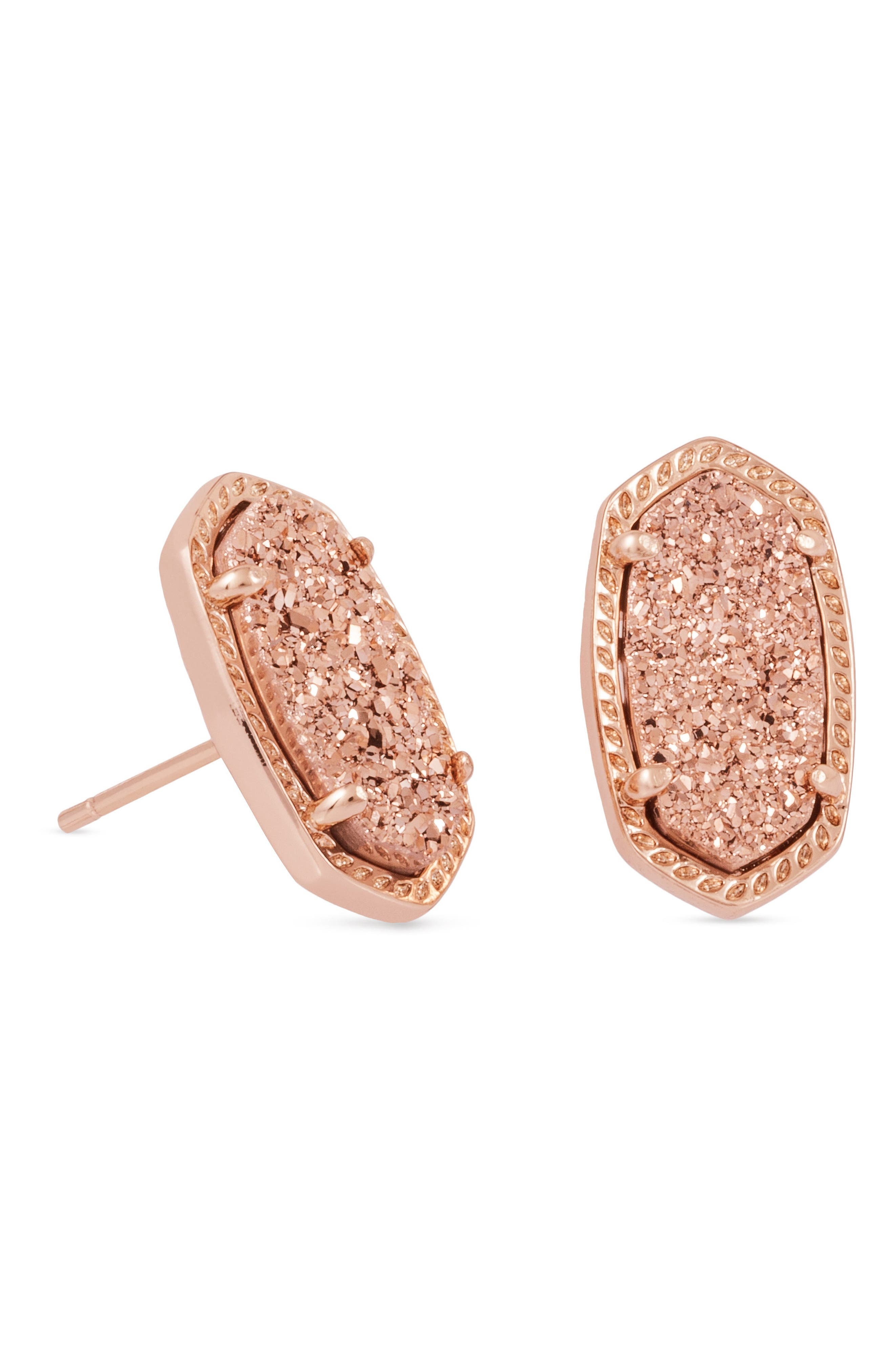 Ellie Oval Stone Stud Earrings,                             Main thumbnail 1, color,                             Rose Gold Drusy/ Rose Gold
