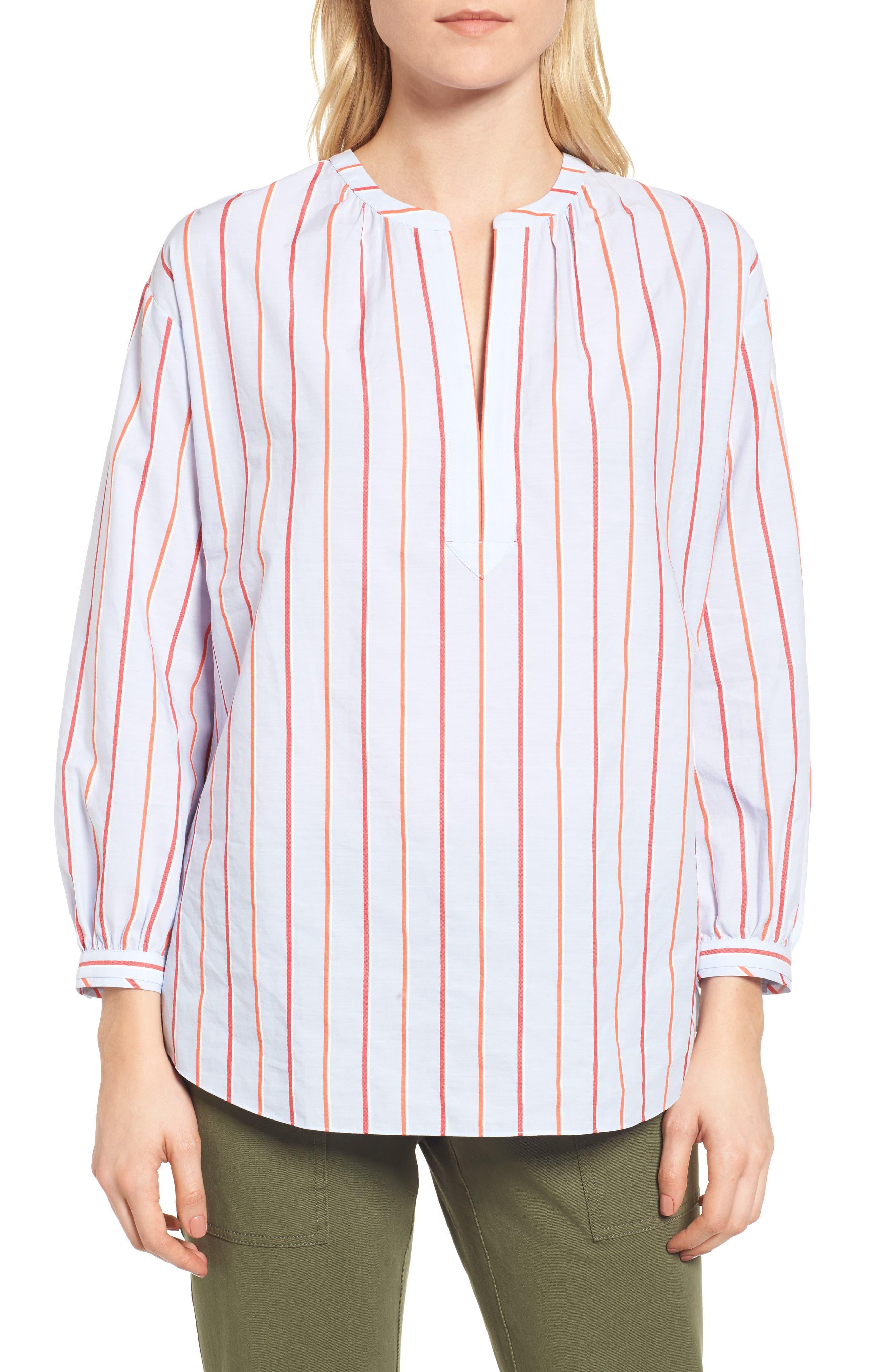 Balloon Sleeve Stripe Shirt,                             Main thumbnail 1, color,                             Orange- Blue Stripe