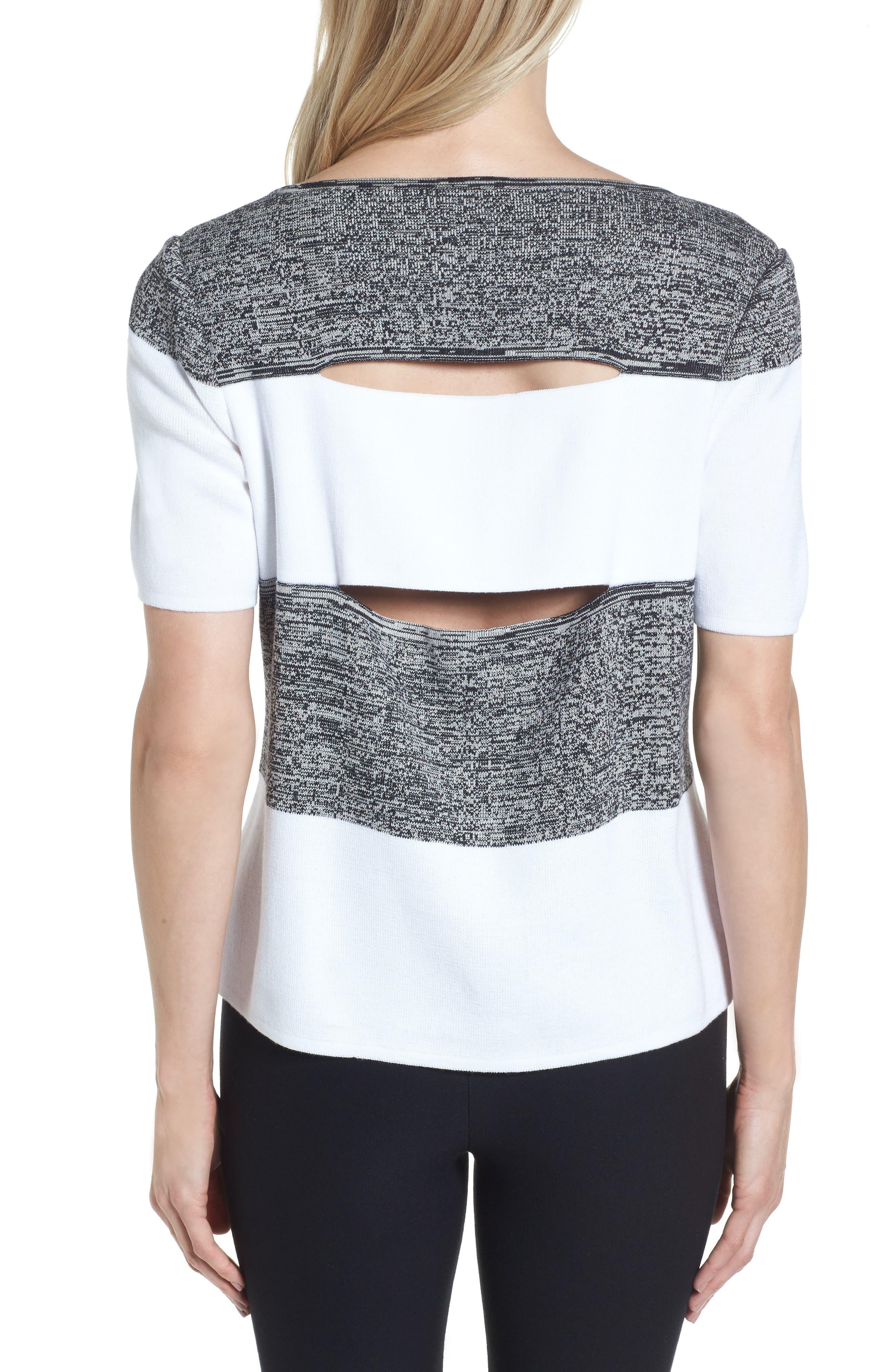 Stripe Open Back Pullover,                             Alternate thumbnail 2, color,                             White/ Almond Beige/ Black