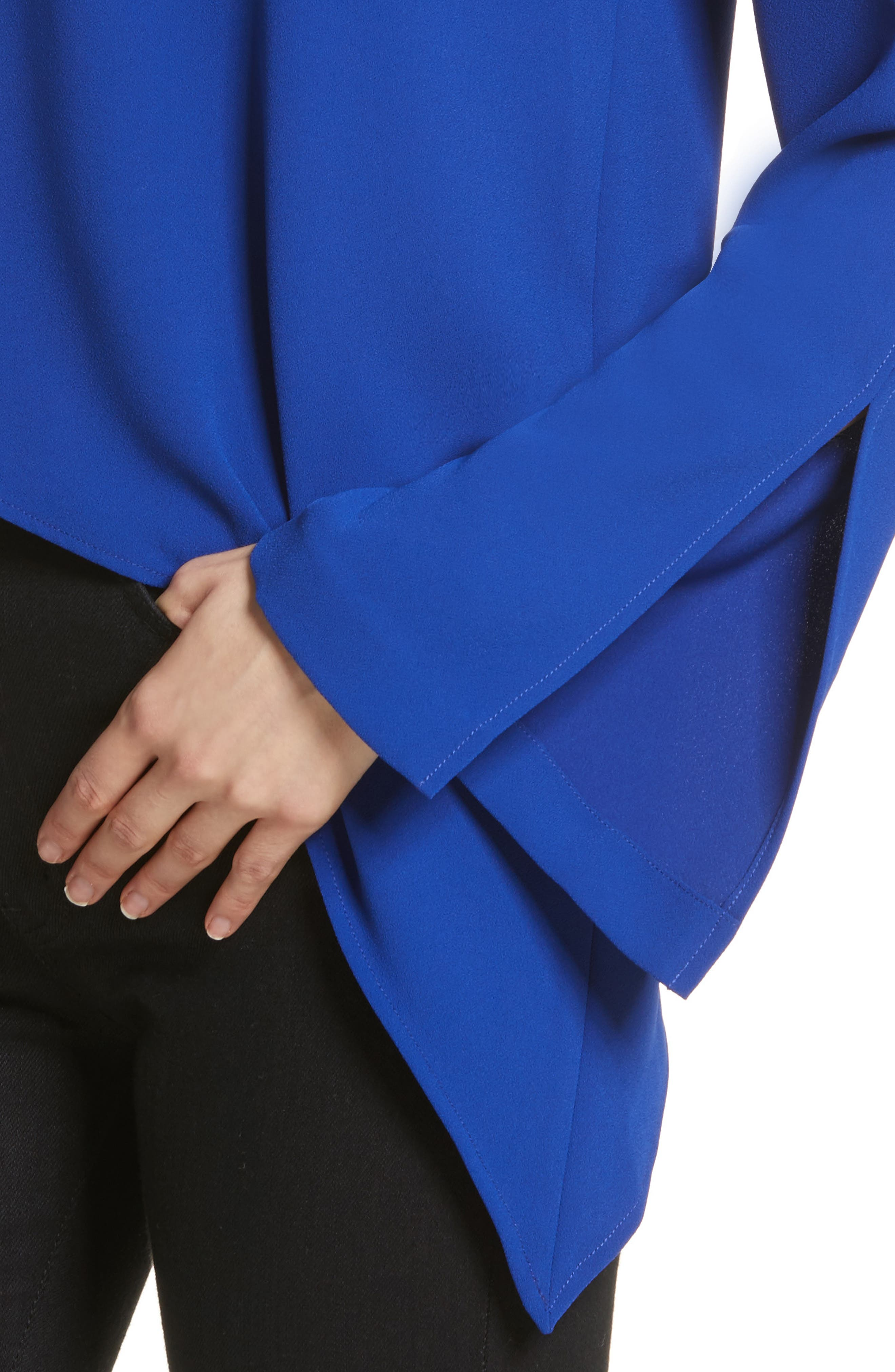Awefa Cutout Crepe Blouse,                             Alternate thumbnail 4, color,                             Electric Blue