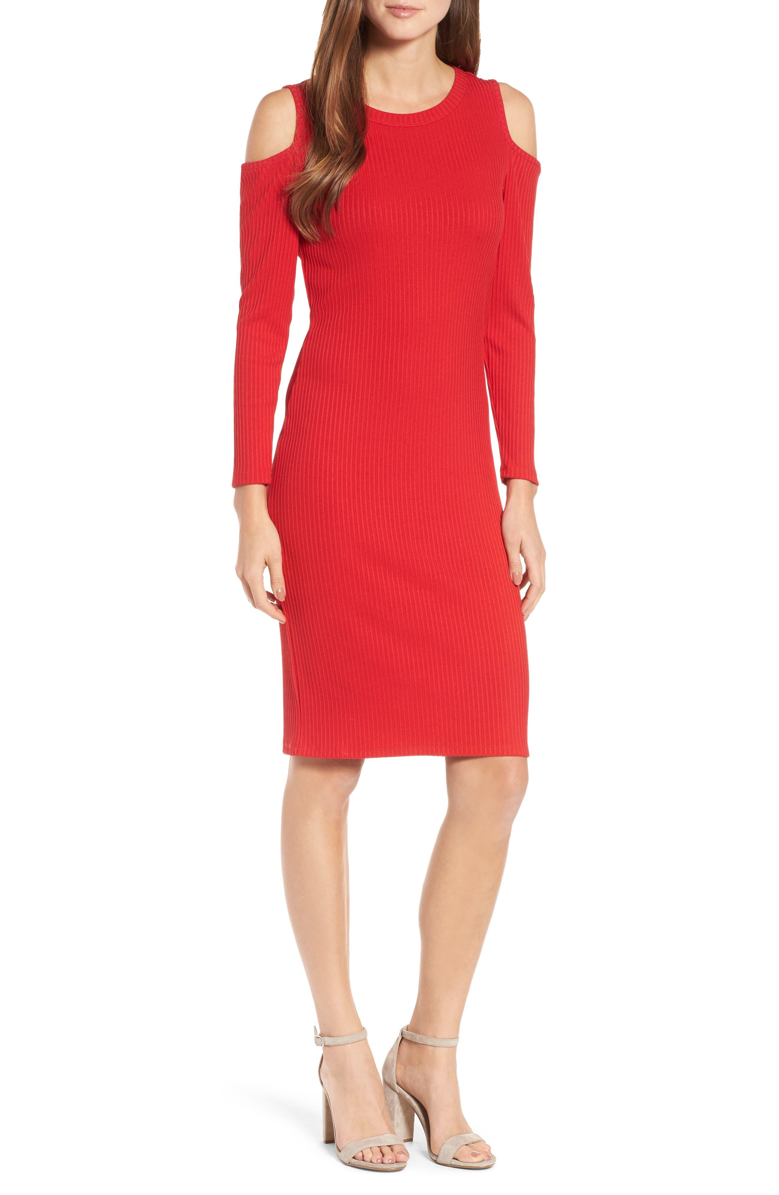 MICHAEL Michael Kors Ribbed Cold Shoulder Dress