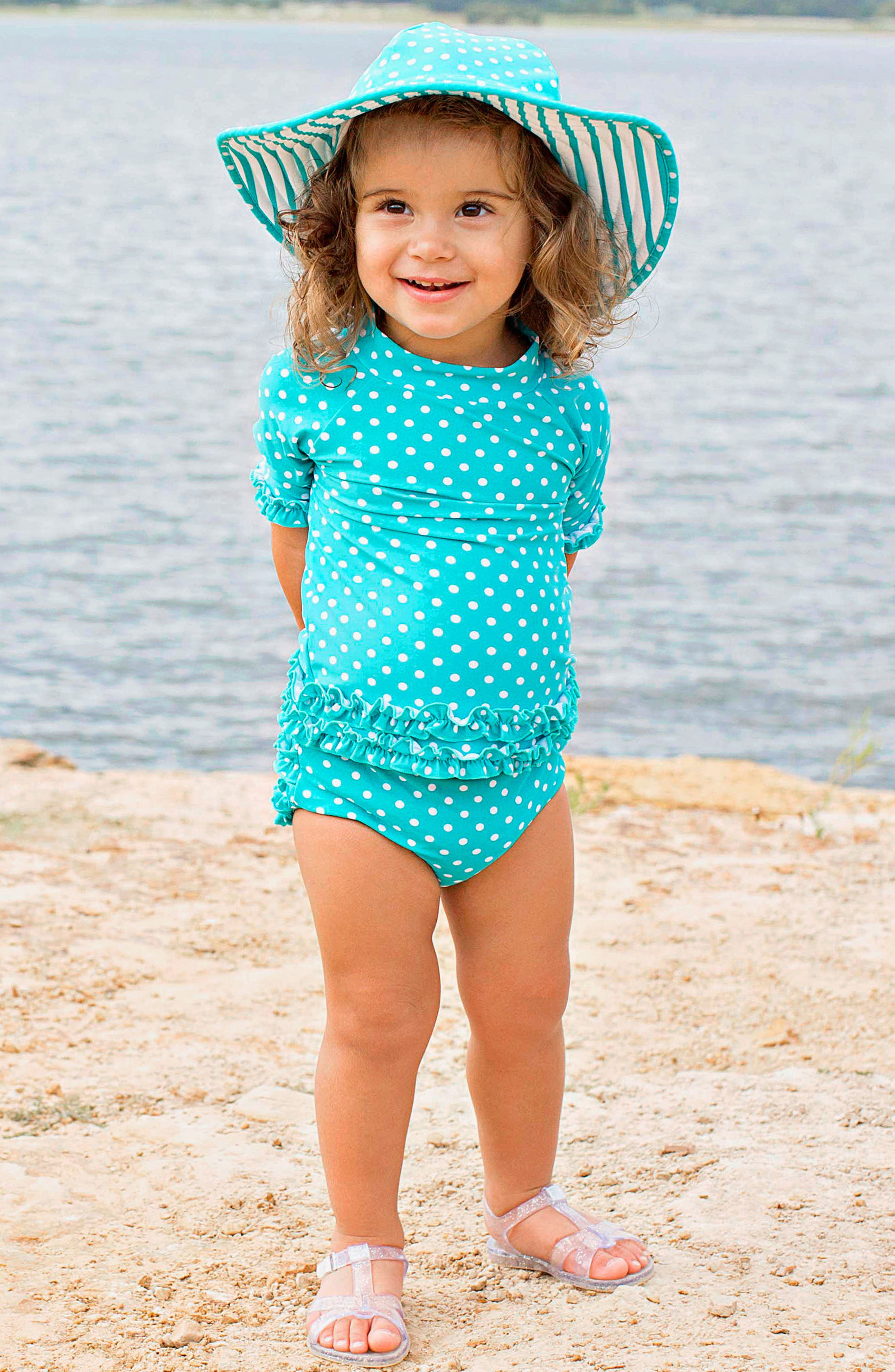 One-Piece Rashguard Swimsuit & Hat Set,                             Alternate thumbnail 4, color,                             Aqua