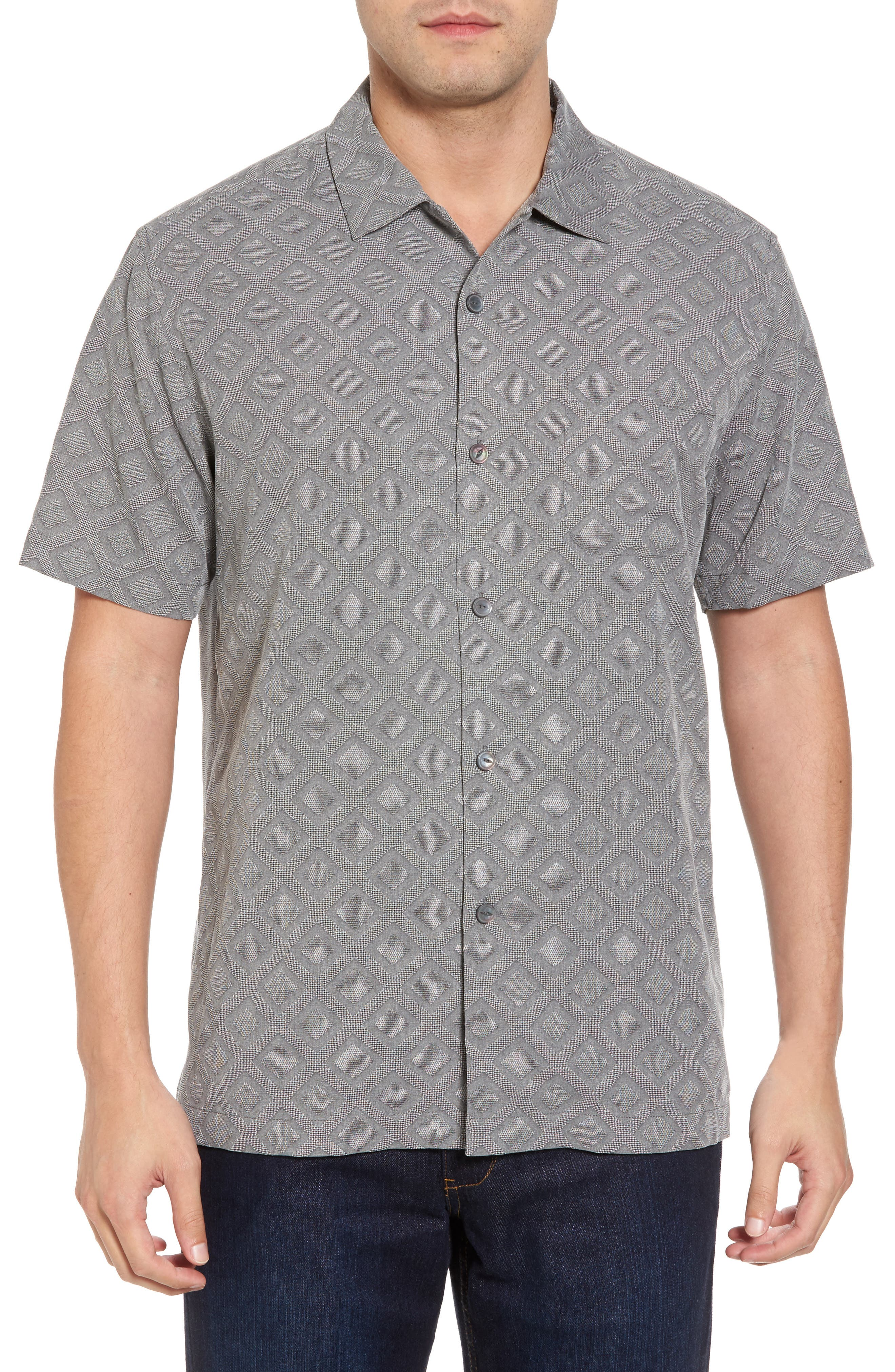 Solid Diamond Isle Silk Sport Shirt,                             Main thumbnail 1, color,                             Bala Shark