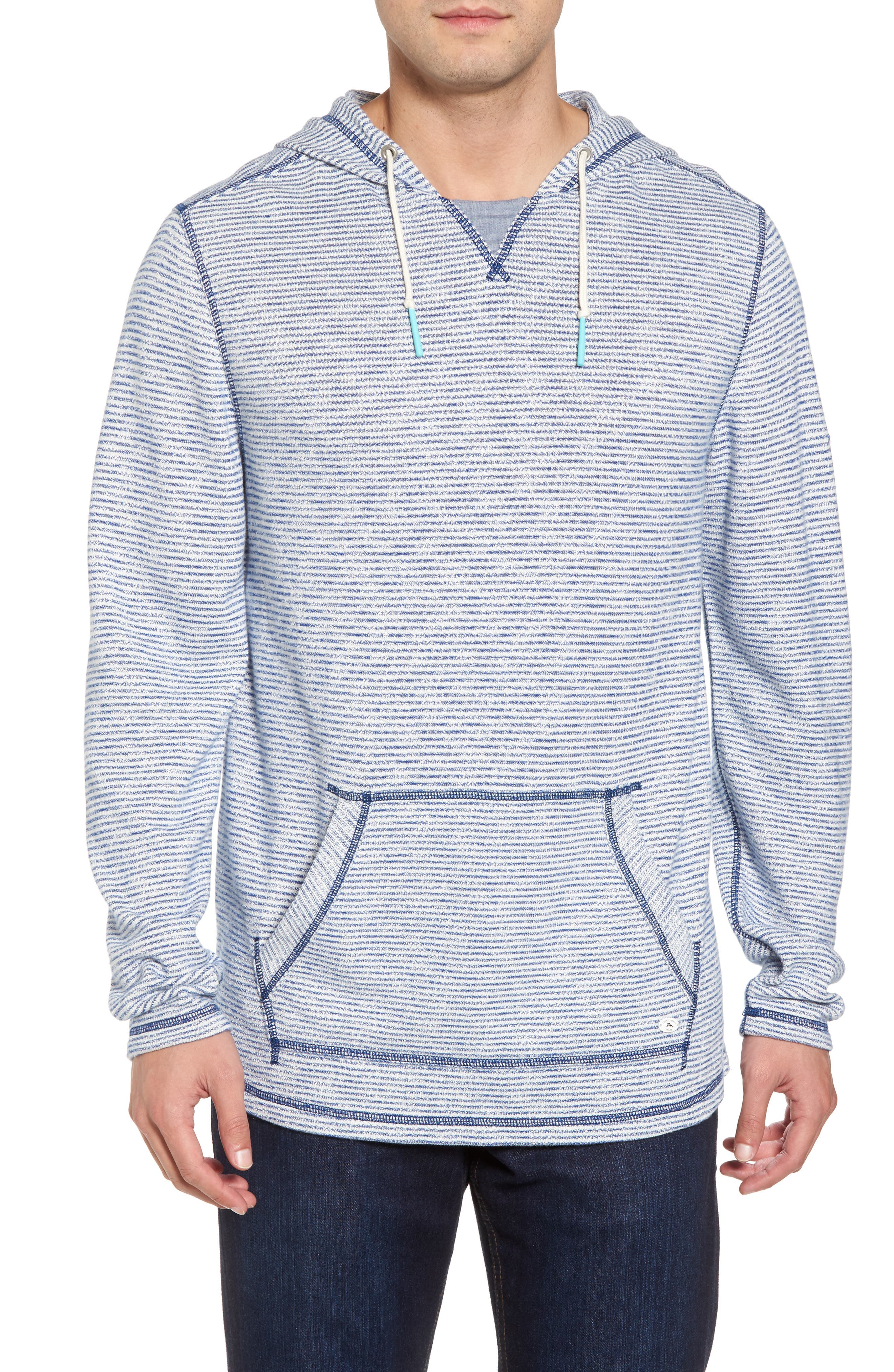 Bayfront Stripe Hooded Pullover,                             Main thumbnail 1, color,                             Galaxy Blue