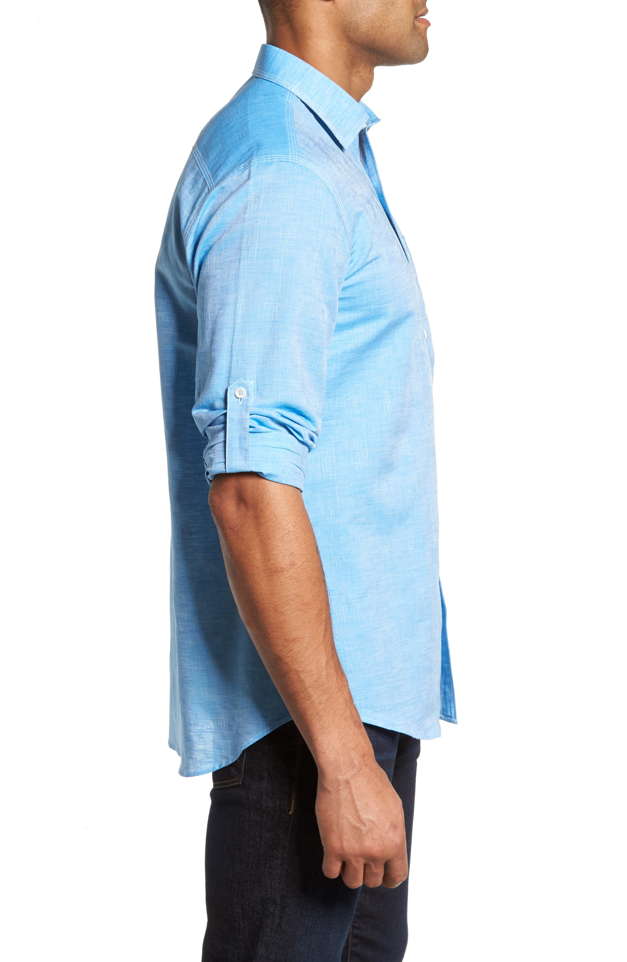 Shaped Fit Sport Shirt,                             Alternate thumbnail 3, color,                             Turquoise