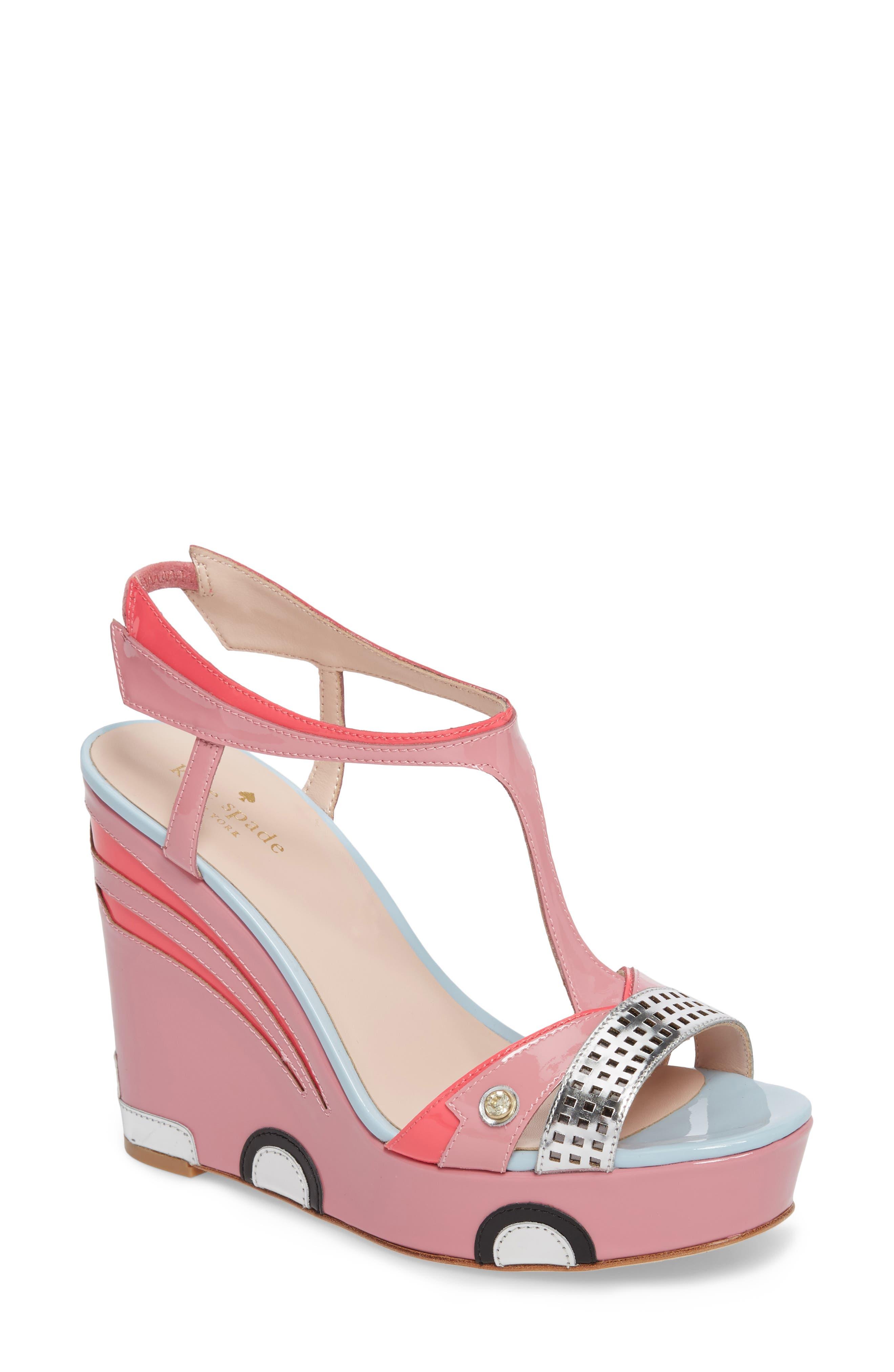 deanna wedge t-strap sandal,                         Main,                         color, Petunia Patent