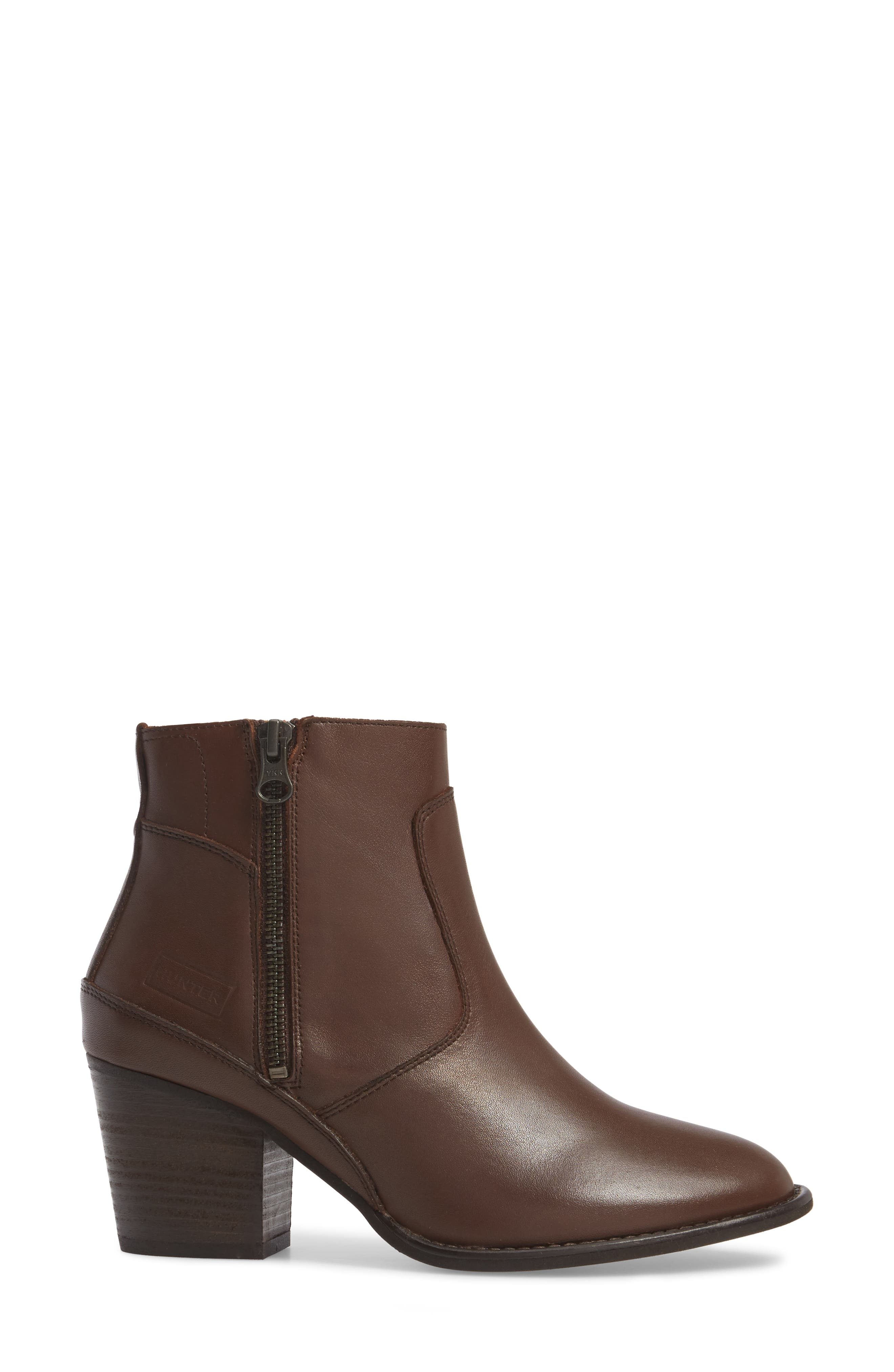 Refined Water Resistant Zip Bootie,                             Alternate thumbnail 3, color,                             Bitter Chocolate Leather