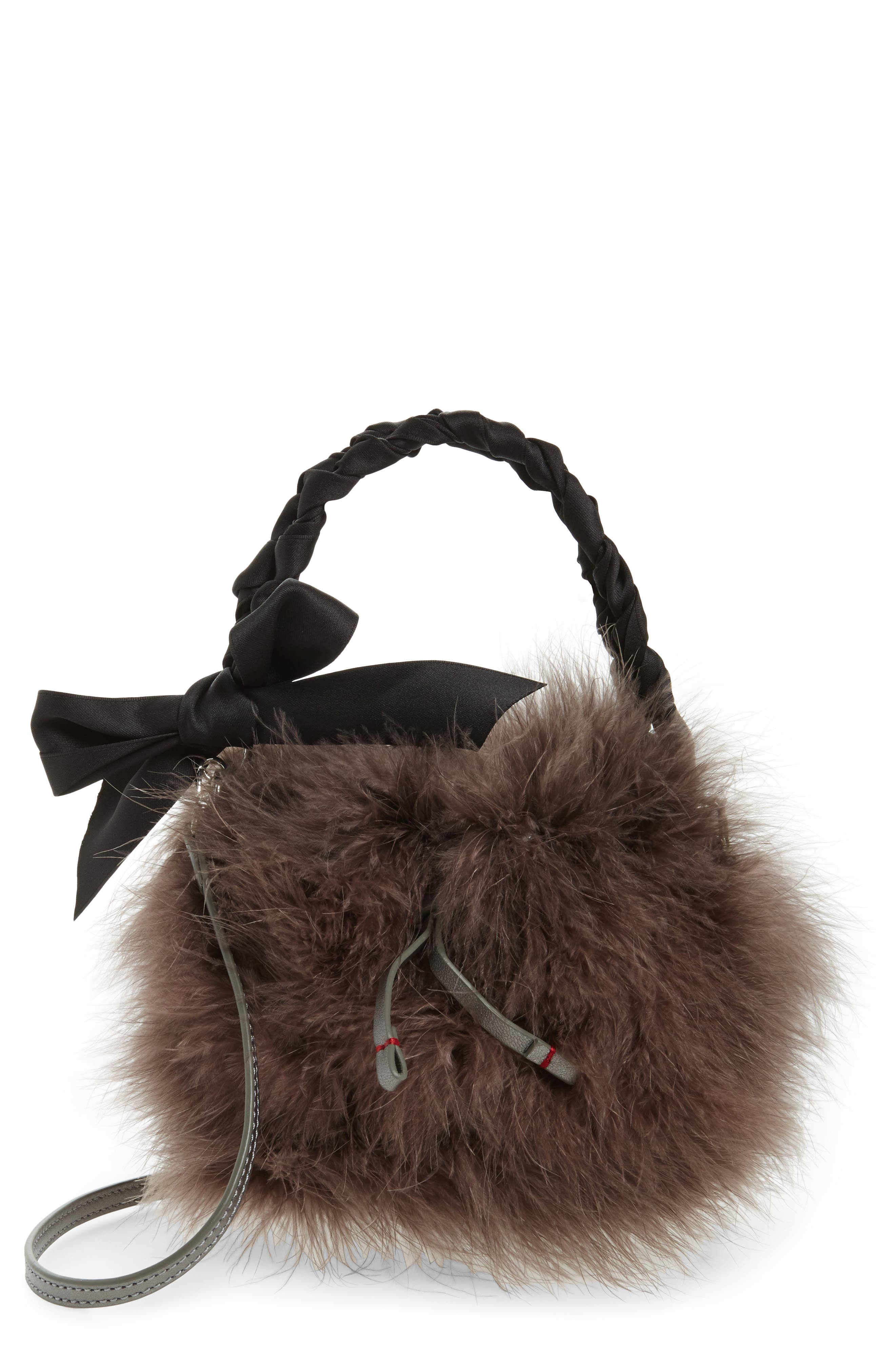 Main Image - Frances Valentine Small Calfskin Leather & Feather Bucket Bag
