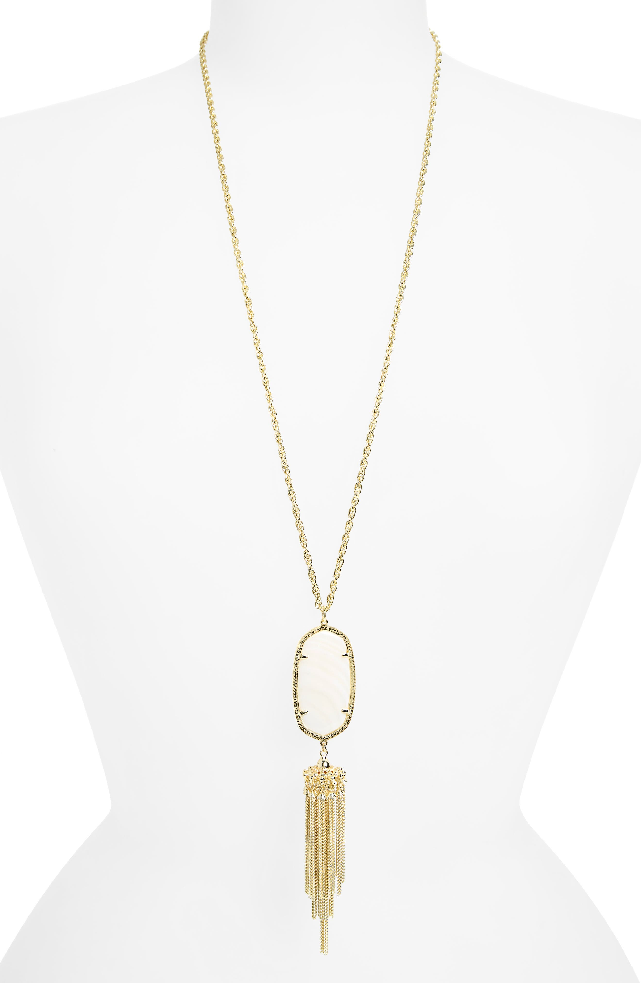 Rayne Stone Tassel Pendant Necklace,                         Main,                         color, White Mother Of Pearl/ Gold