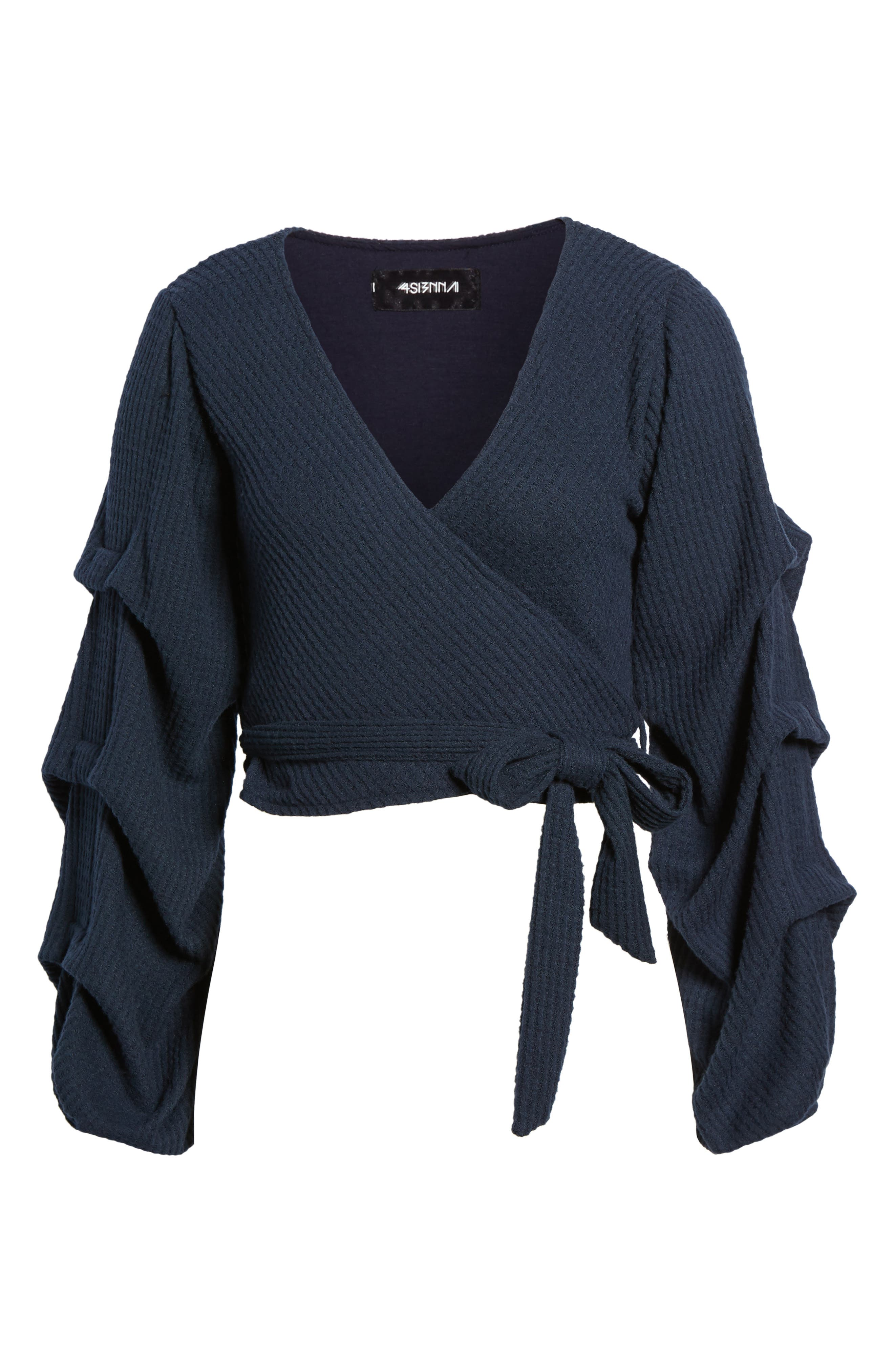 Wrap Sweater,                             Alternate thumbnail 6, color,                             Navy