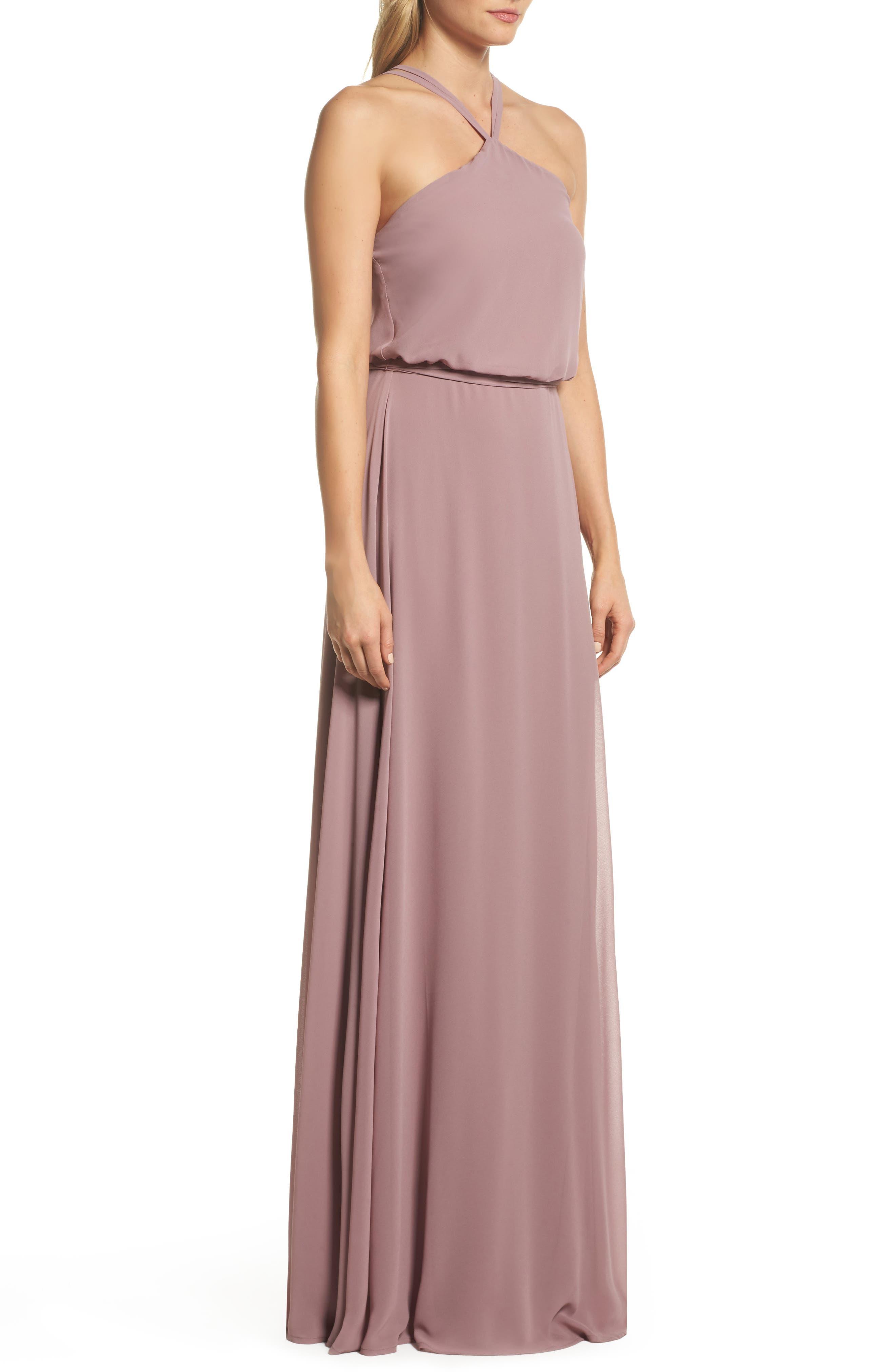 Alternate Image 3  - nouvelle AMSALE Halter Neck Chiffon Blouson Gown