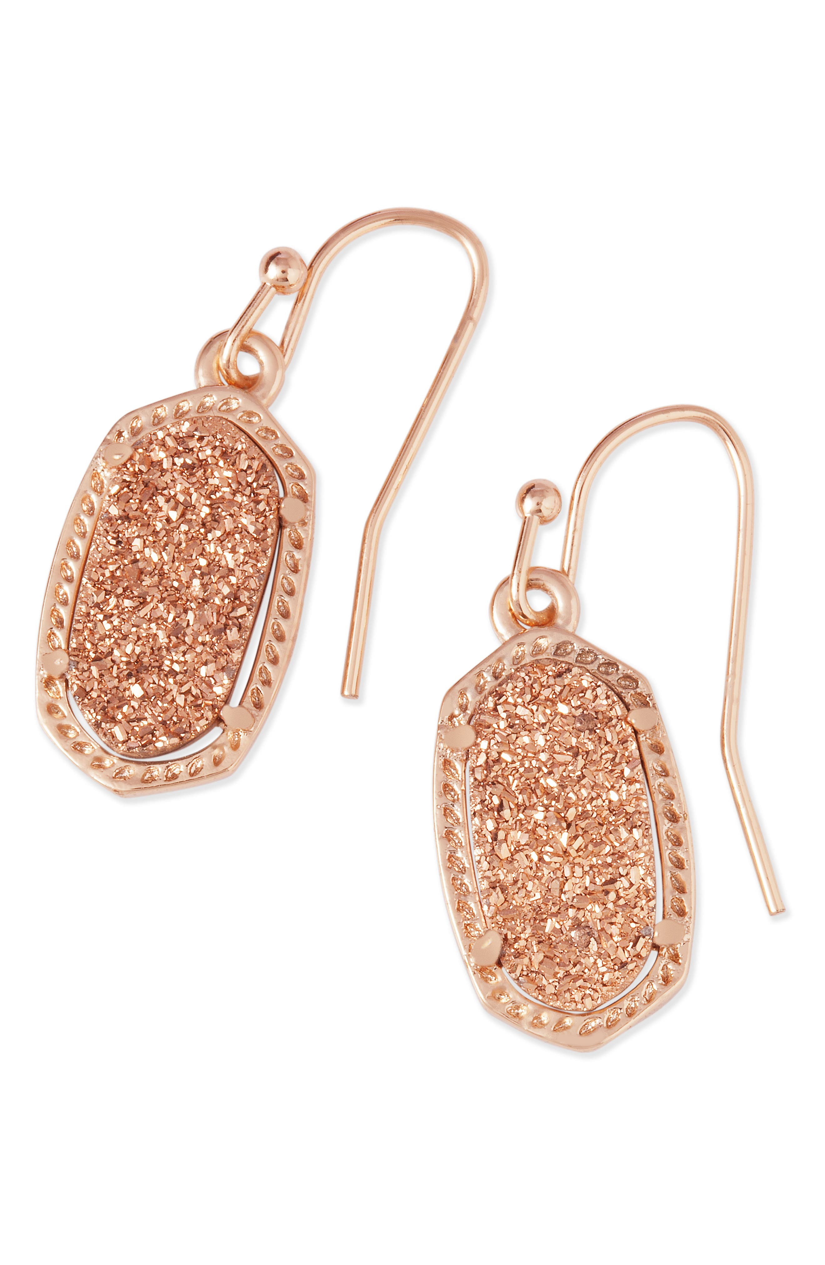 Lee Small Drop Earrings,                             Alternate thumbnail 2, color,                             Rose Drusy/ Rose Gold