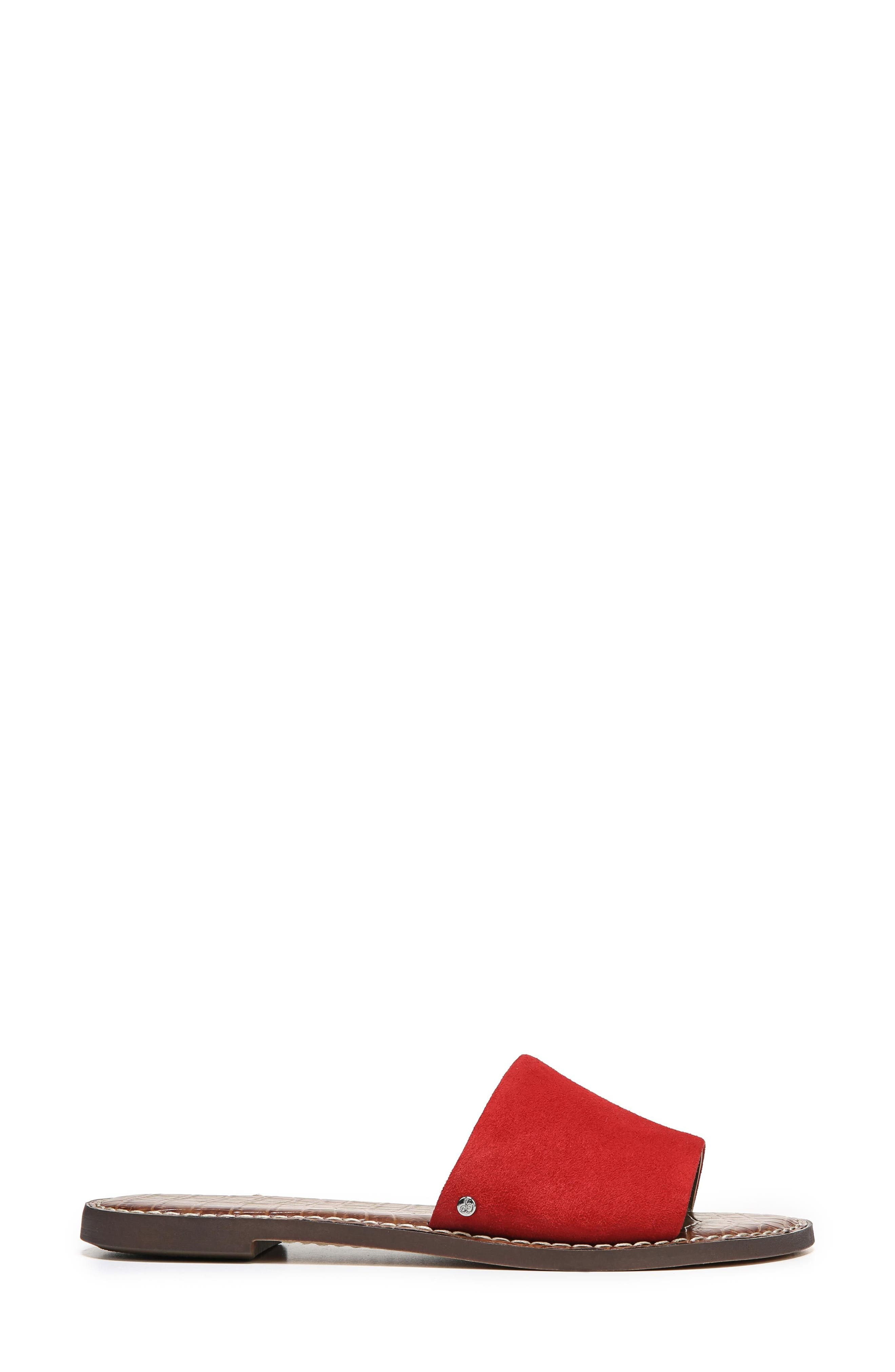 Gio Slide Sandal,                             Alternate thumbnail 3, color,                             Red Suede