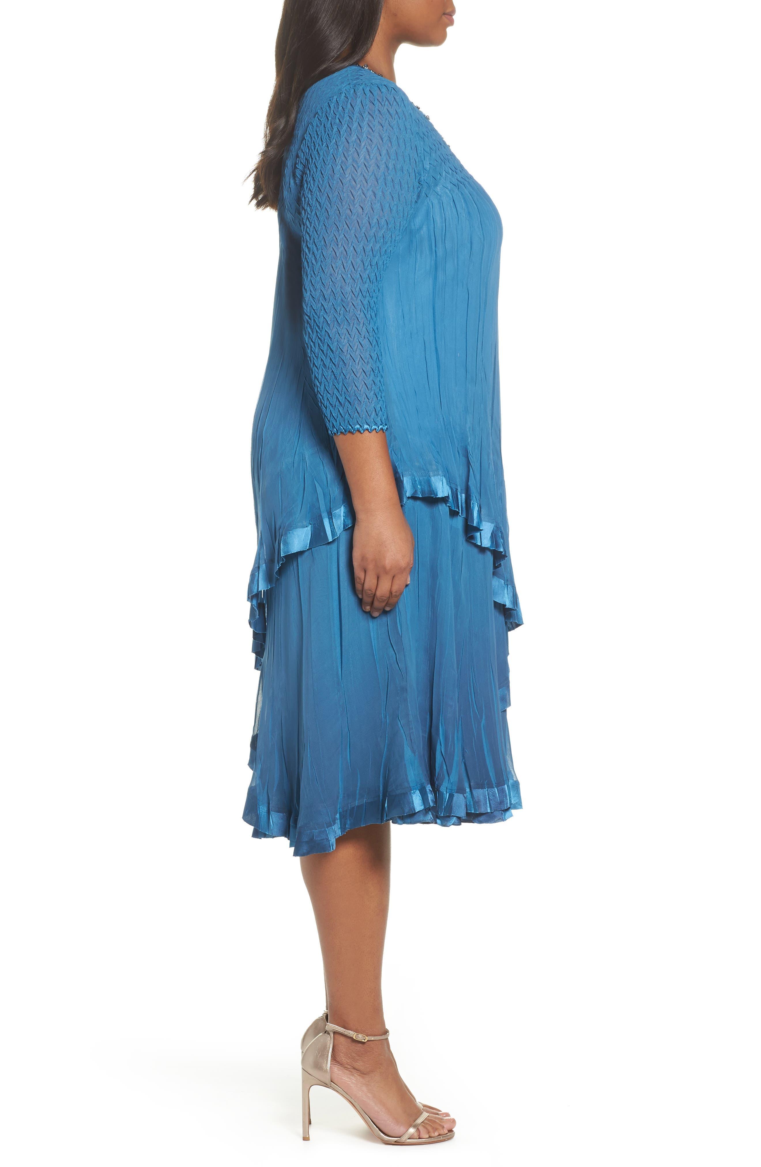 Dress Tiered Chiffon & Charmeuse Dress,                             Alternate thumbnail 3, color,                             Blue Dusk Night Ombre