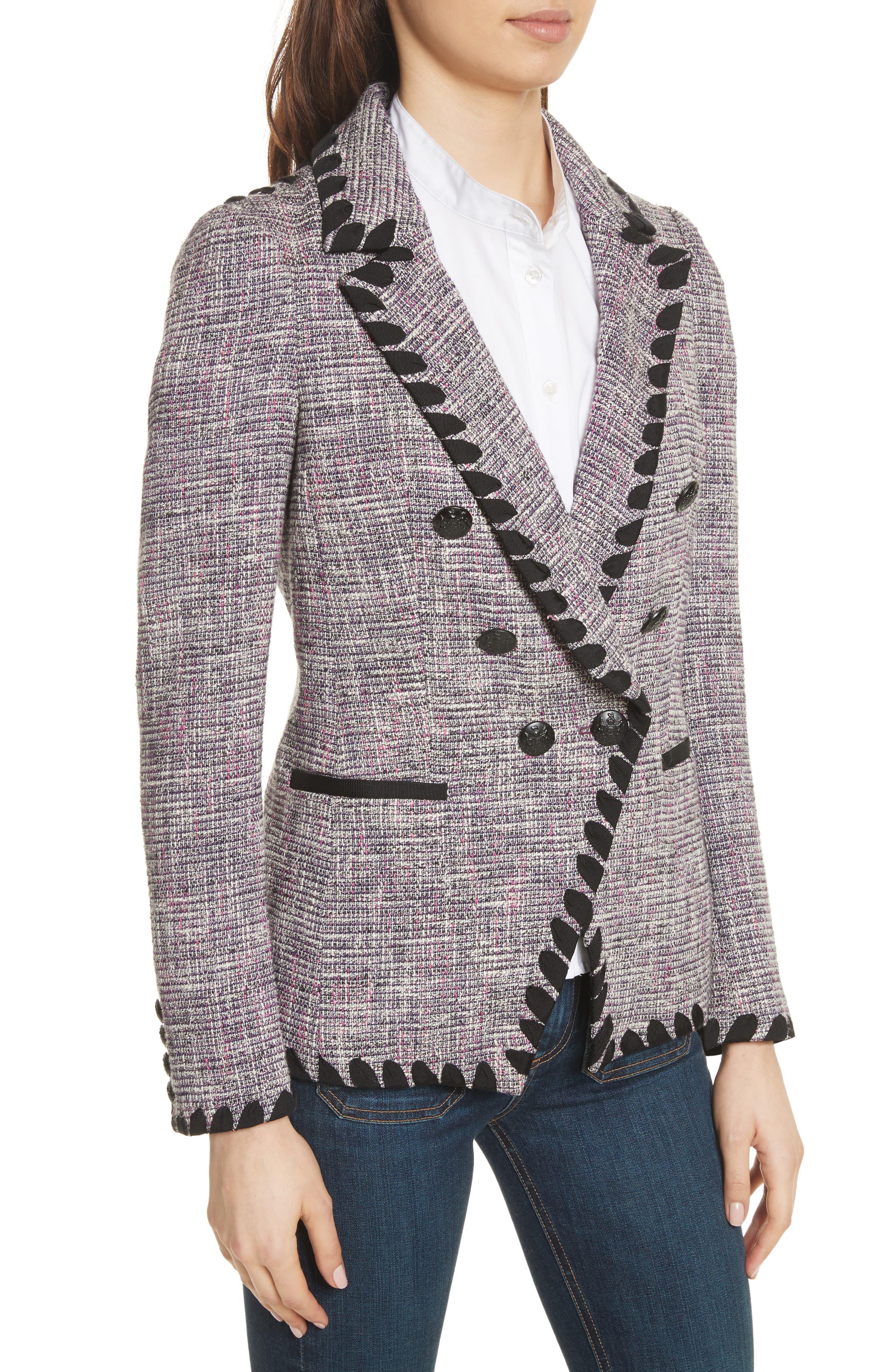 Octivia Tweed Blazer,                             Alternate thumbnail 4, color,                             Pink/ Black/ White