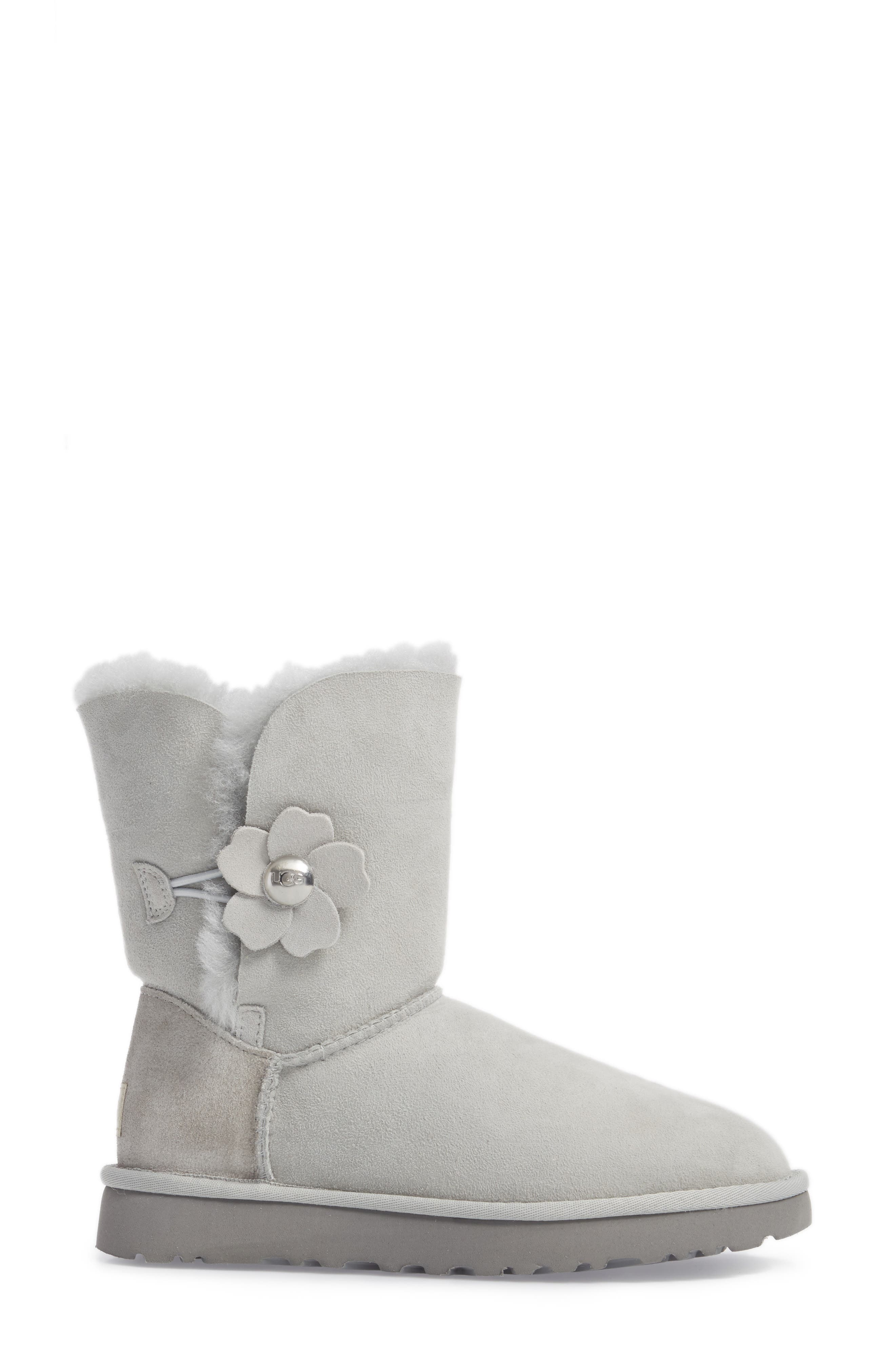 Bailey Button Poppy Genuine Shearling Boot,                             Alternate thumbnail 3, color,                             Grey Violet