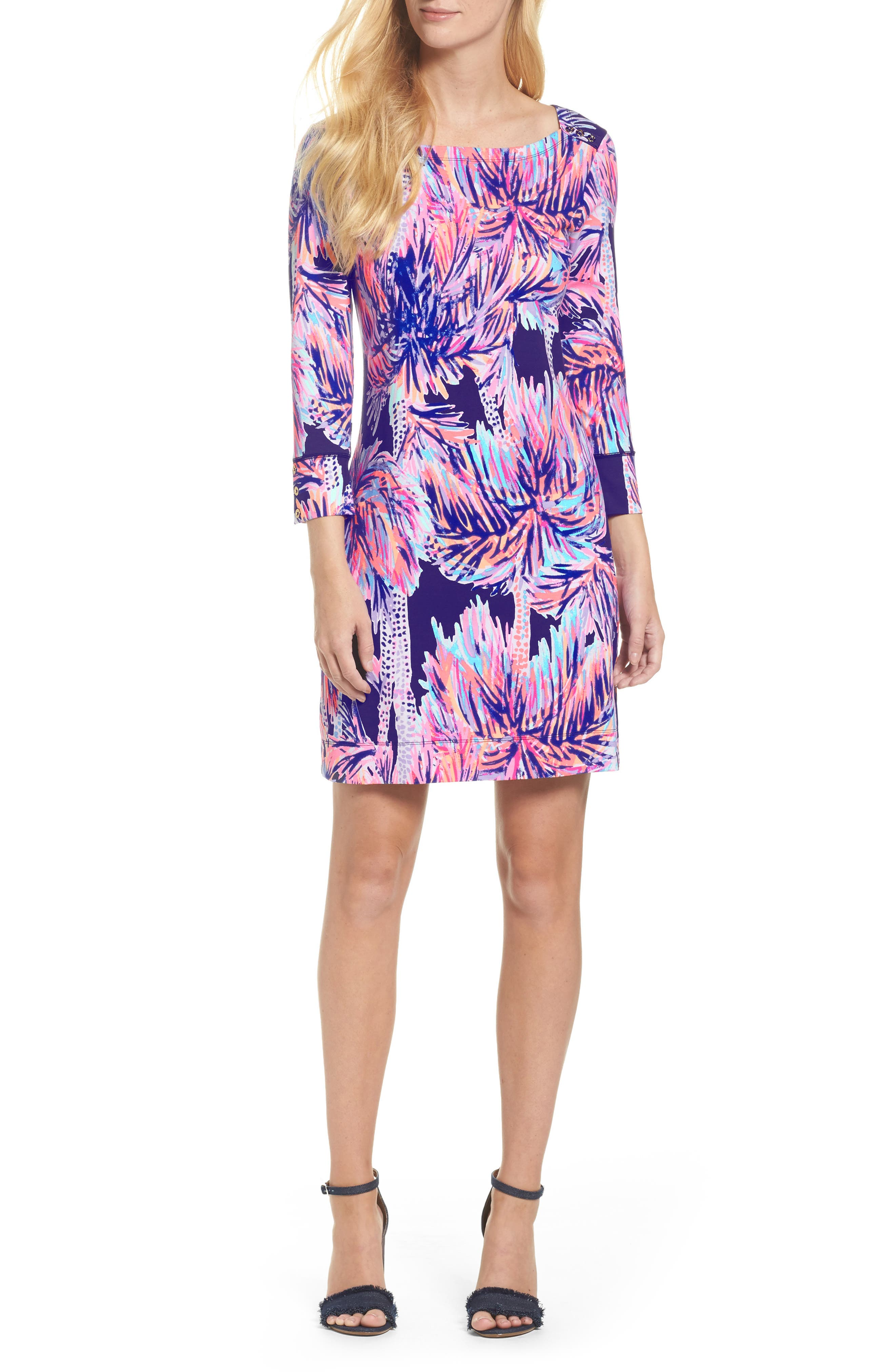 Sophie UPF 50+ Dress,                         Main,                         color, Bright Navy Palms Up