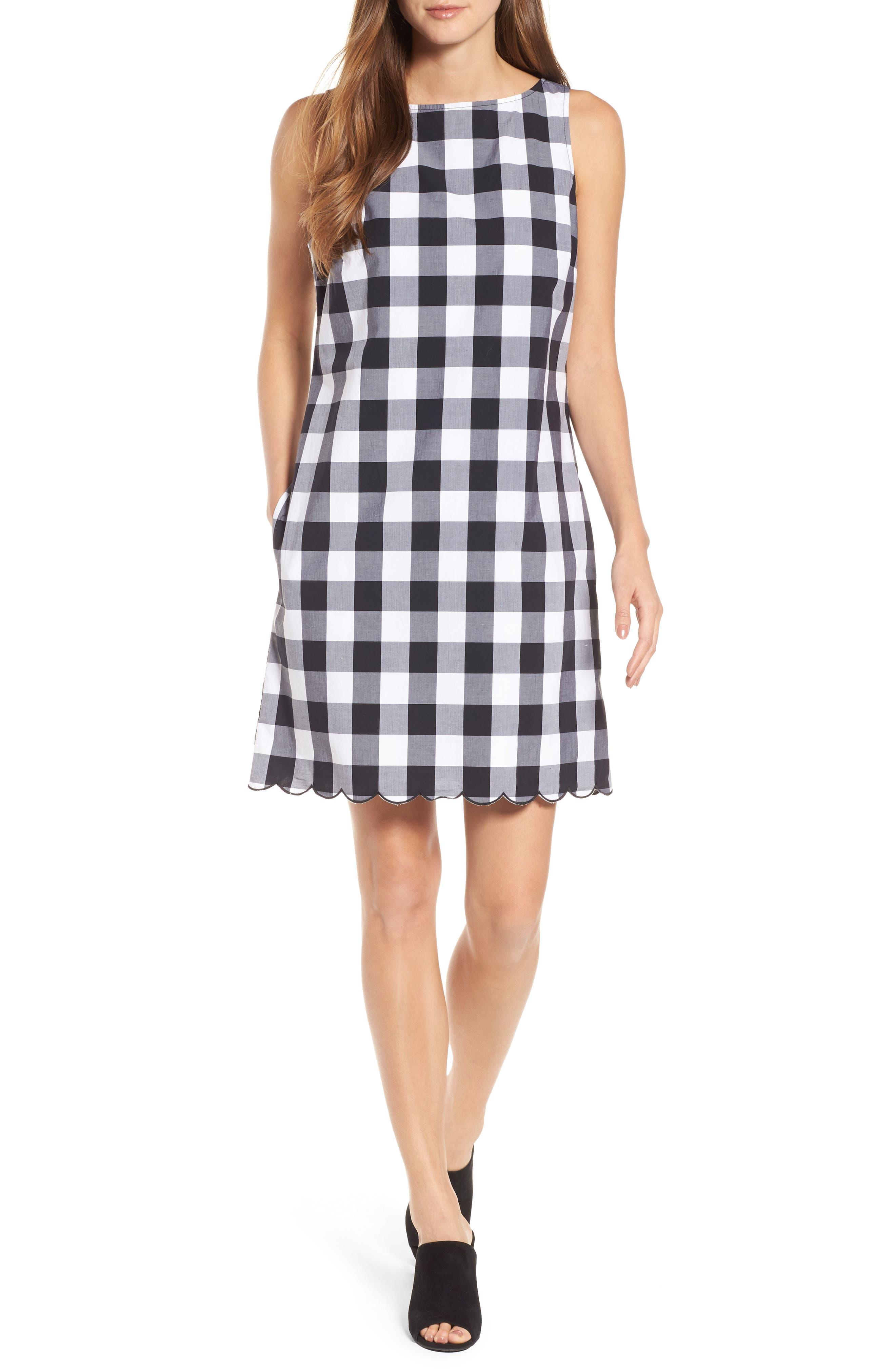 Gingham Gables Shift Dress,                         Main,                         color, Black