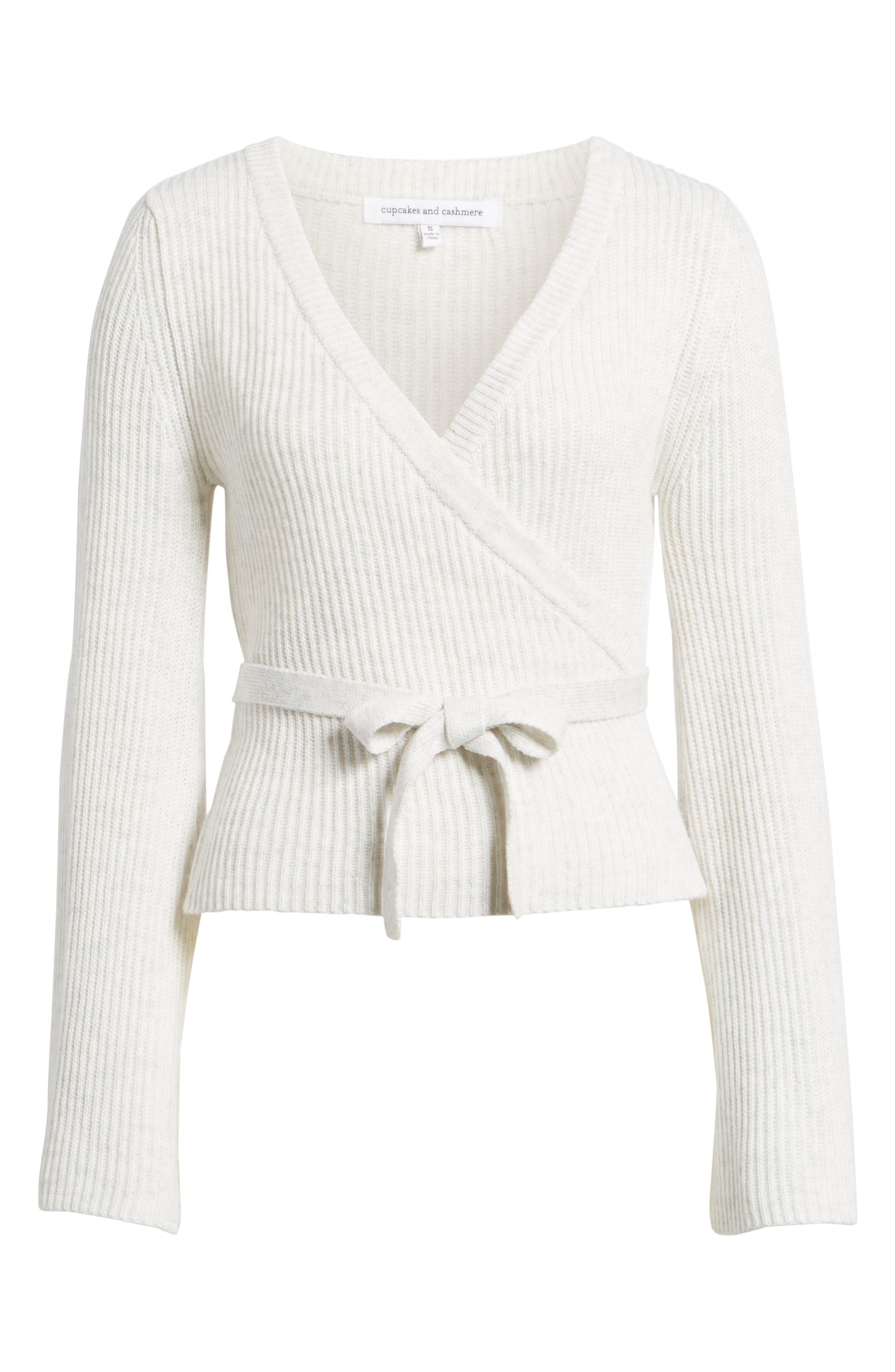 Chavi Tie Waist Sweater,                             Alternate thumbnail 6, color,                             Heather Ash