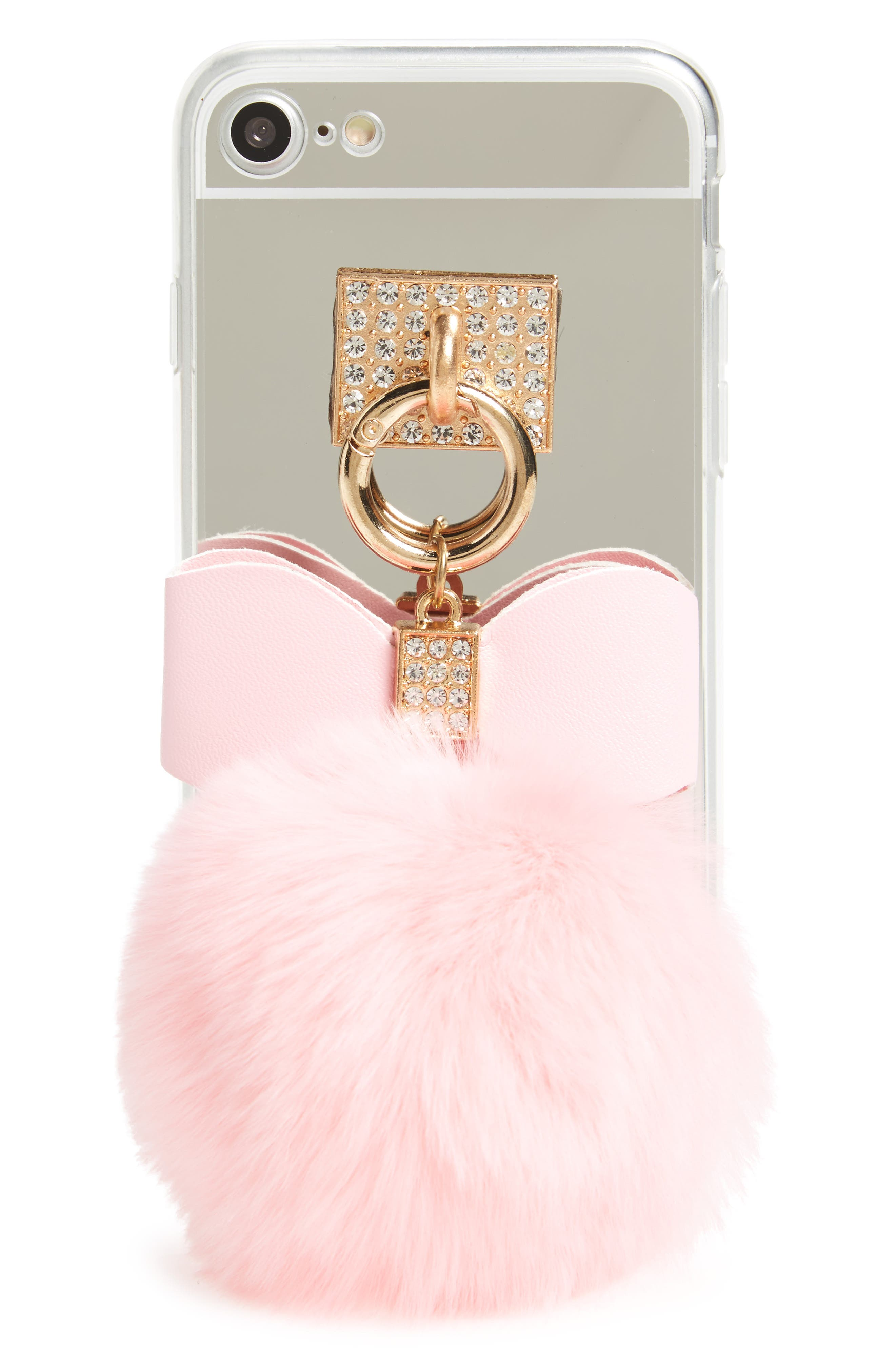 Mirrored Faux Fur iPhone 7 Case,                             Main thumbnail 1, color,                             Pink/ Silver