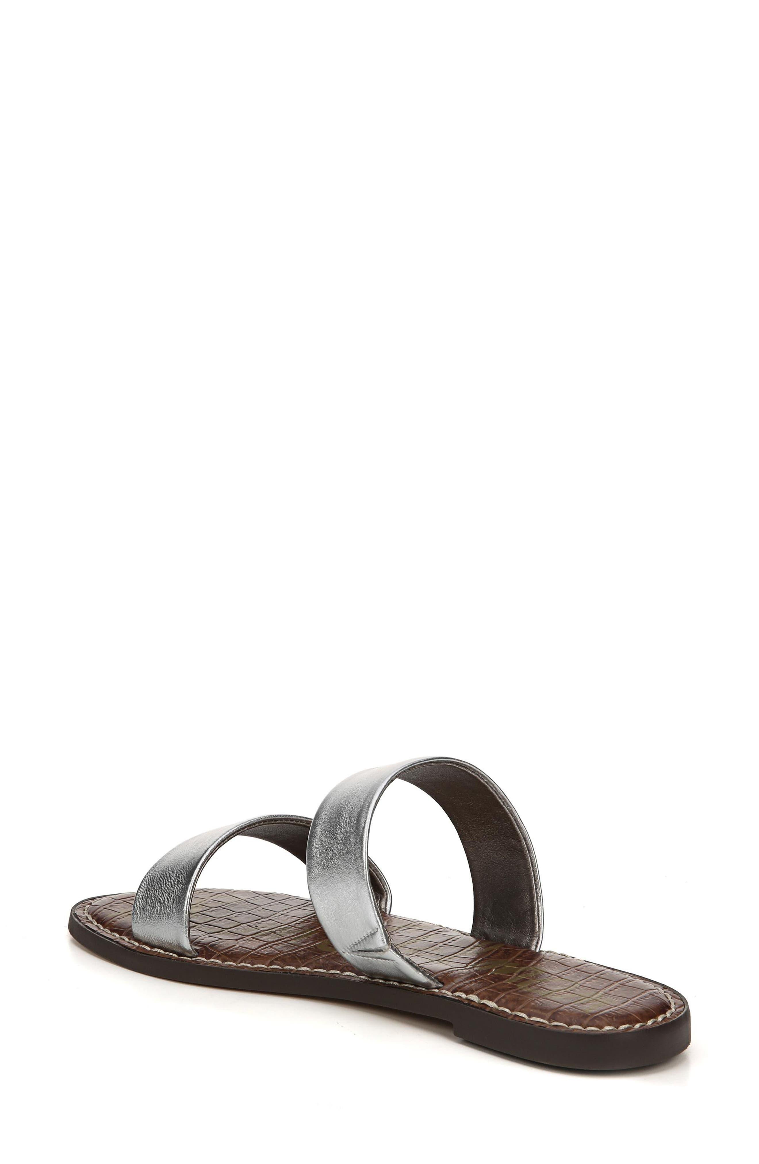 Gala Two Strap Slide Sandal,                             Alternate thumbnail 2, color,                             Silver Leather