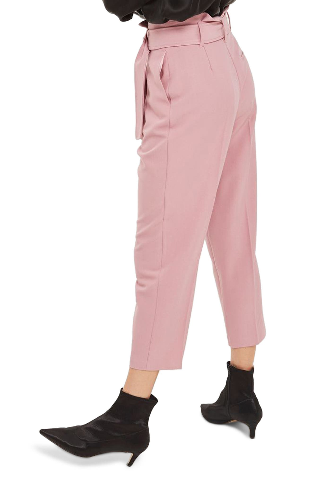 Paperbag Waist Trousers,                             Alternate thumbnail 2, color,                             Pink