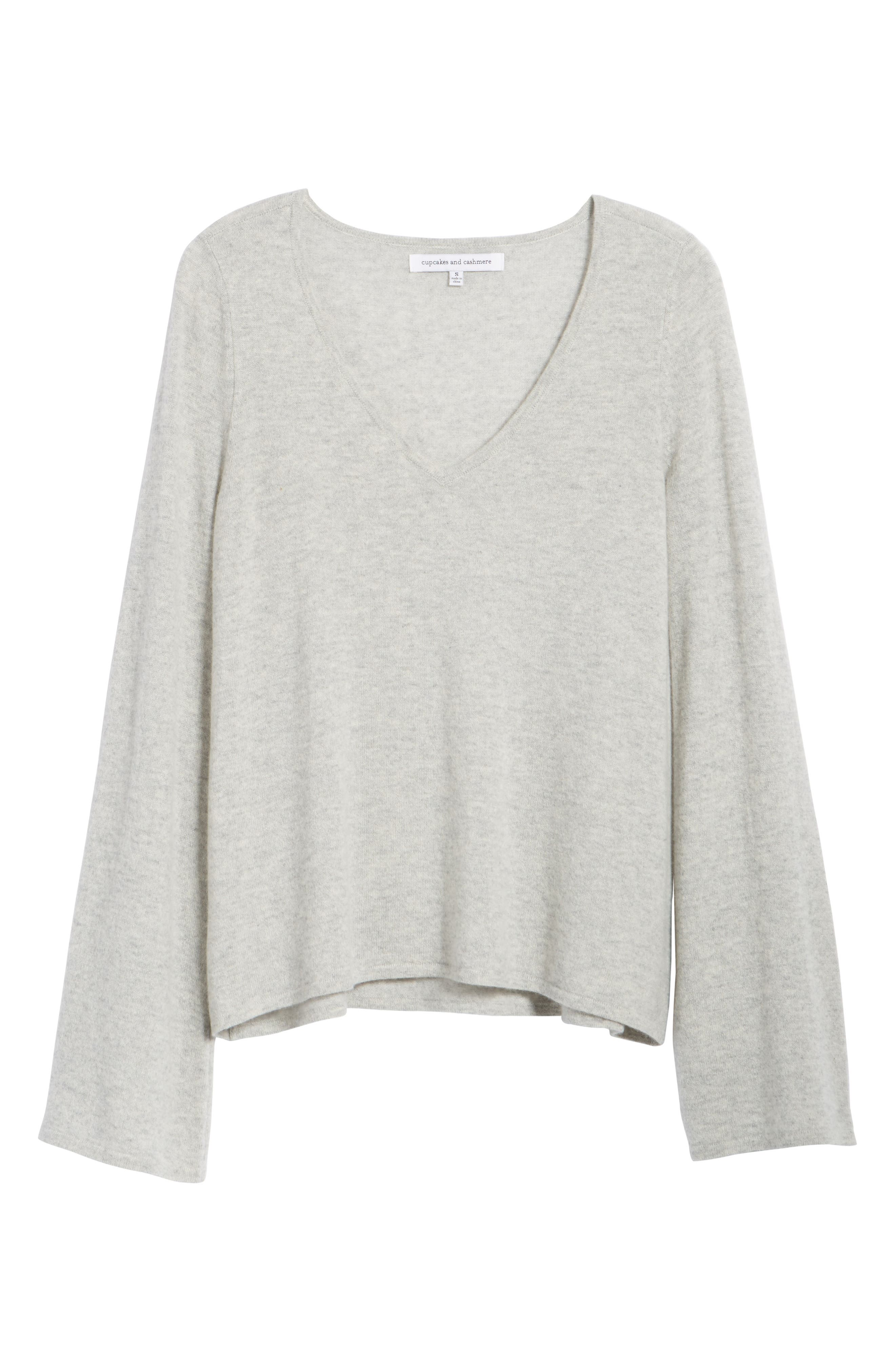 Marylee Cashmere Top,                             Alternate thumbnail 6, color,                             Light Heather Grey