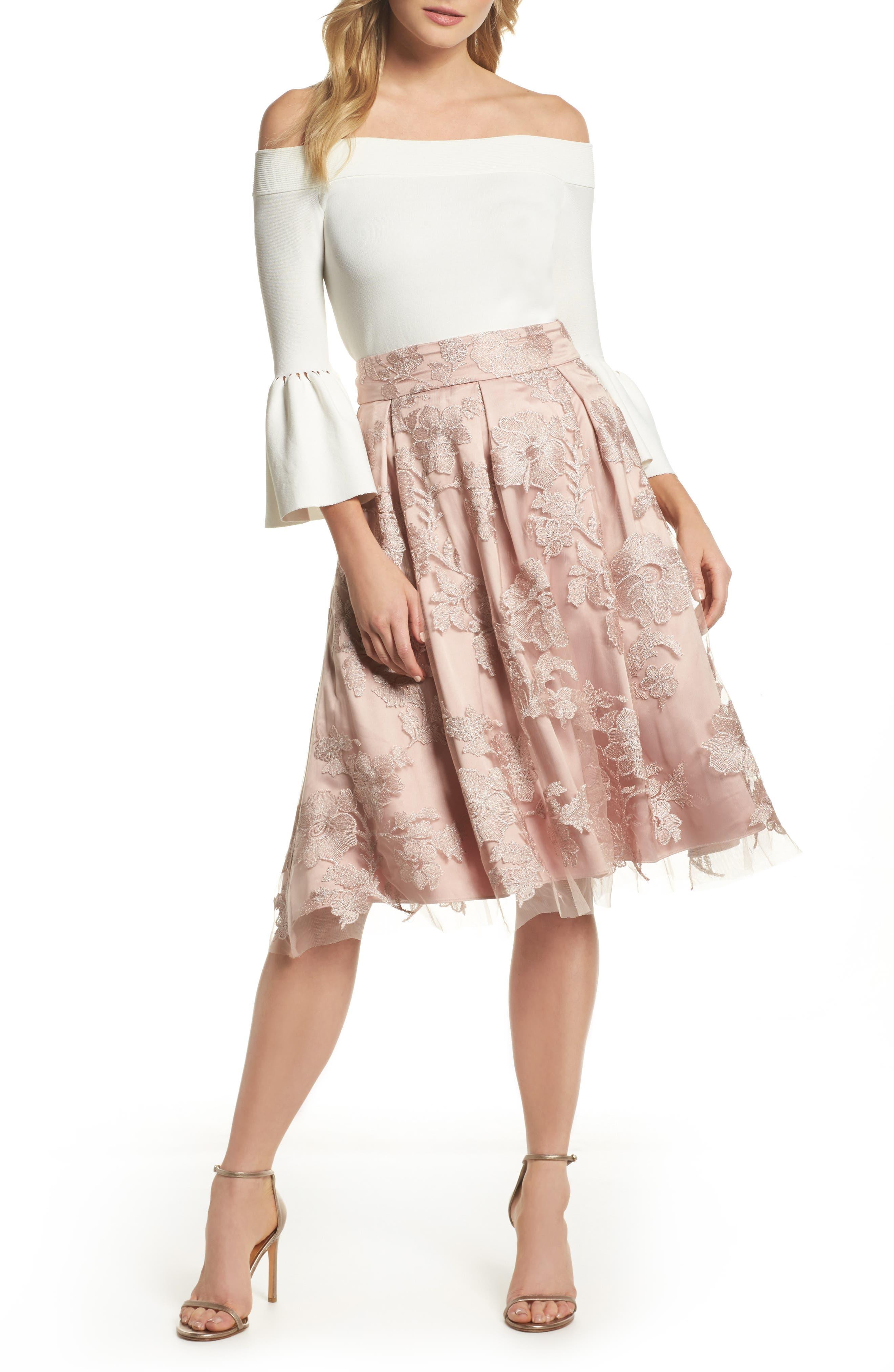 Floral Embroidered Skirt,                             Alternate thumbnail 10, color,                             Blush