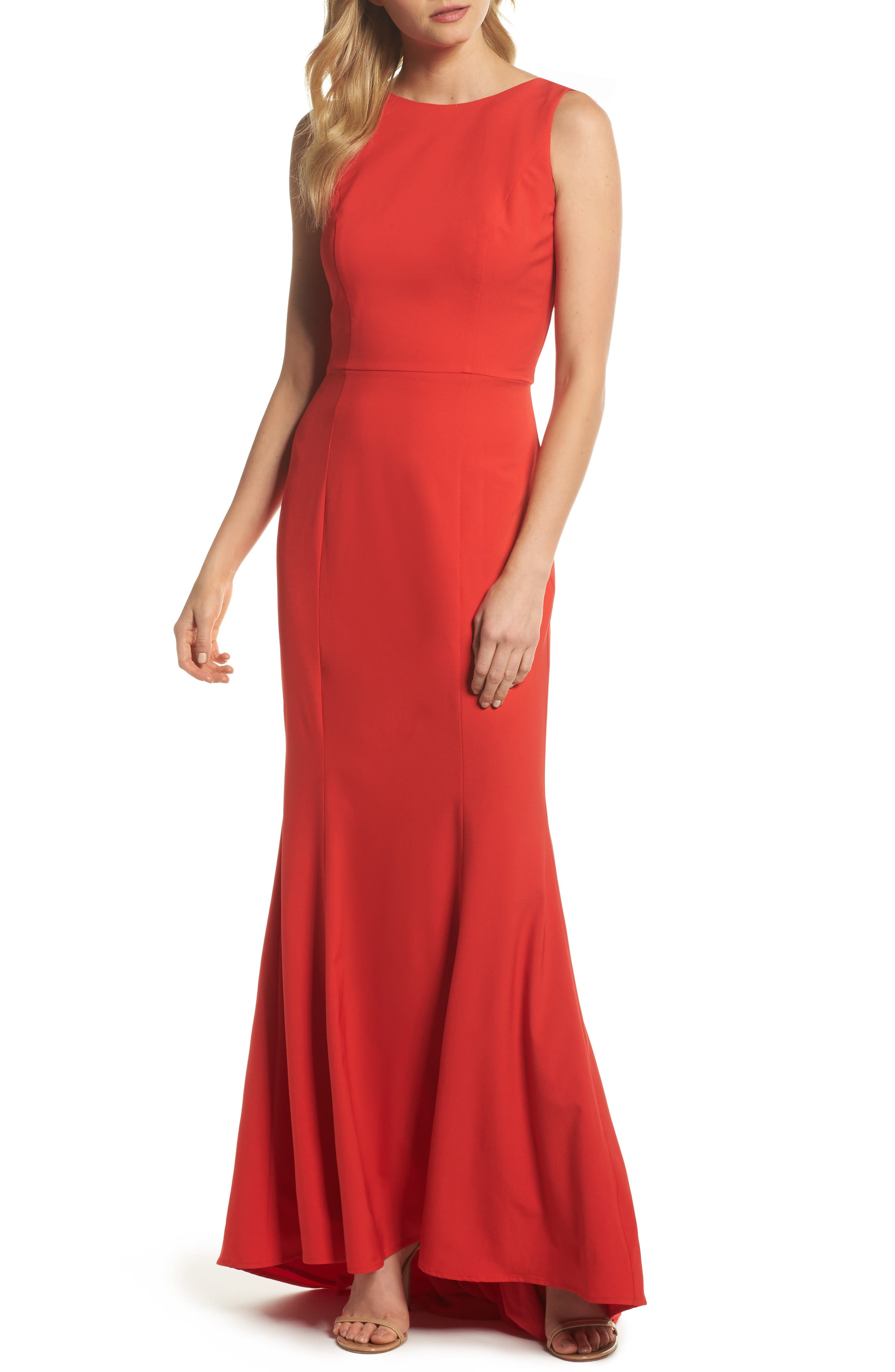 Jemima Ruffle Back Mermaid Gown,                             Main thumbnail 1, color,                             Red