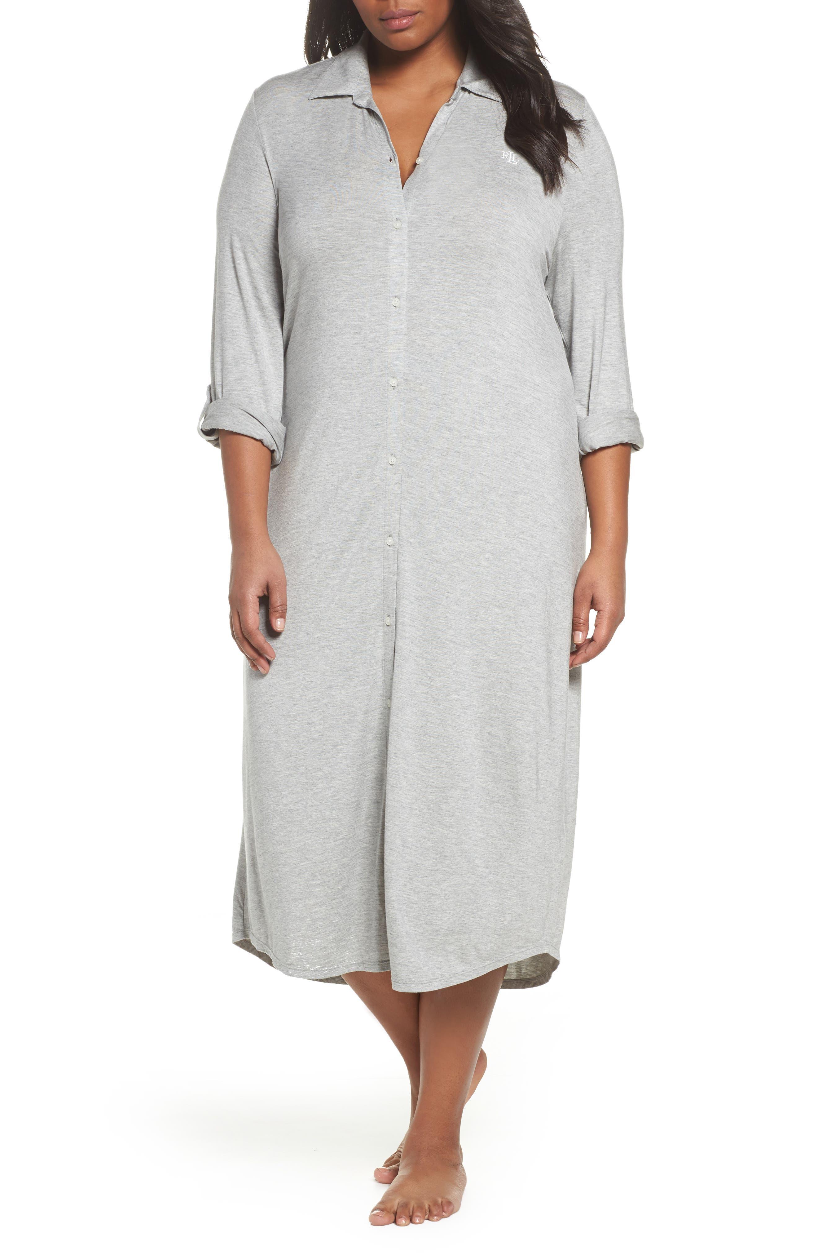 Long Night Shirt,                         Main,                         color, Heather Grey Feeder Stripe