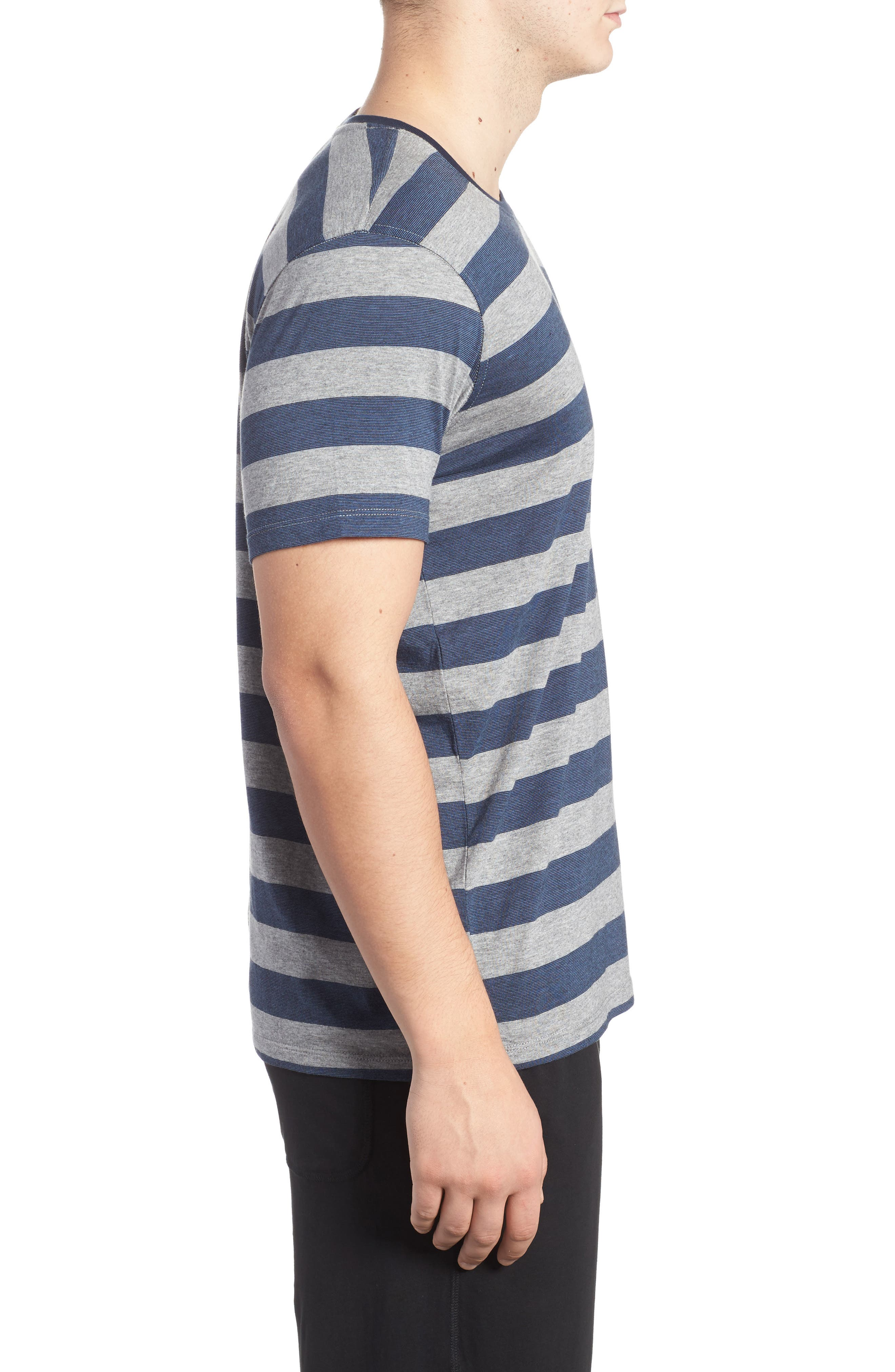 Stripe Pima Cotton & Modal Crewneck T-Shirt,                             Alternate thumbnail 3, color,                             Grey/ Blue