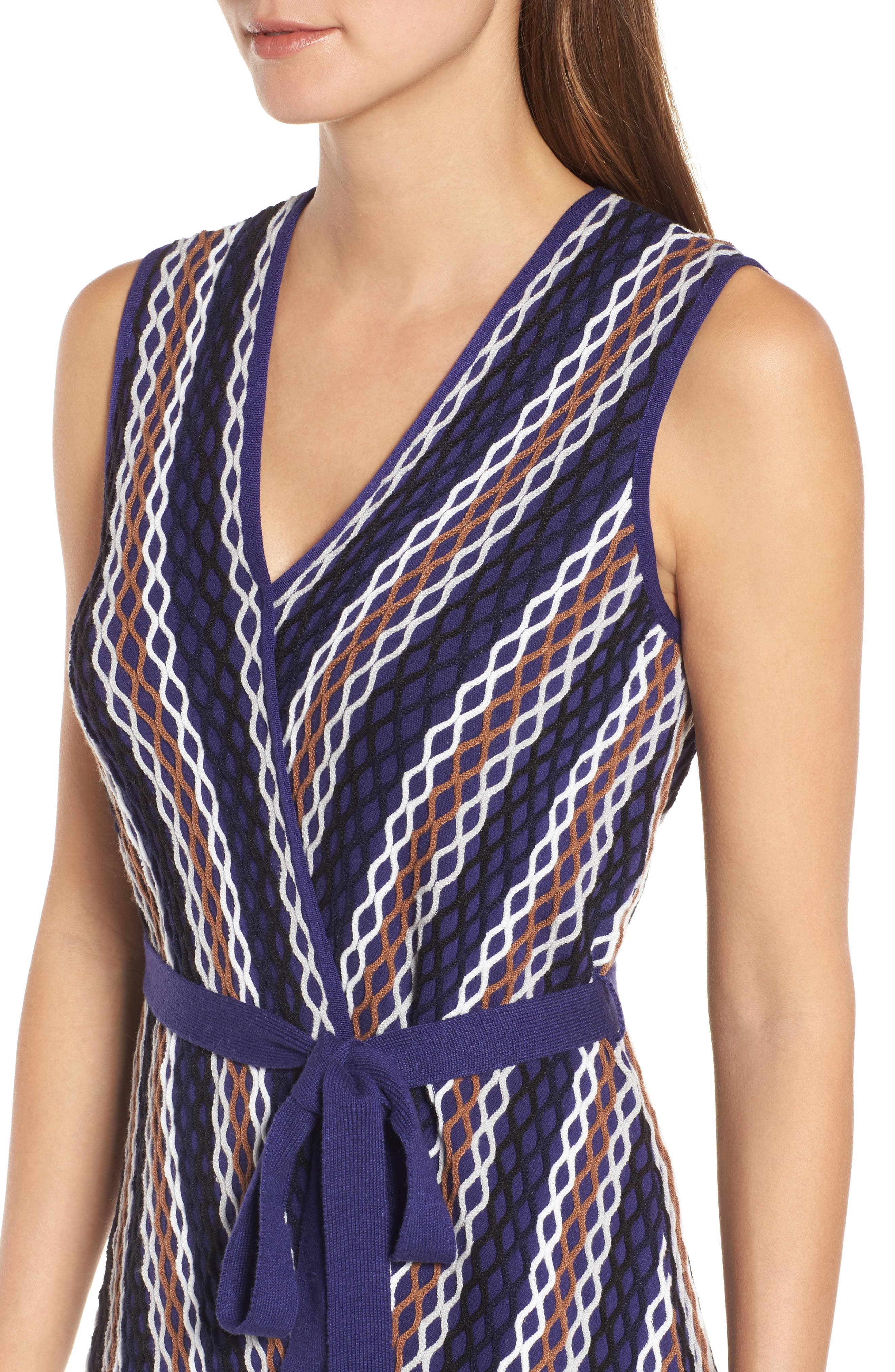Squiggled Up Faux Wrap Dress,                             Alternate thumbnail 4, color,                             Multi