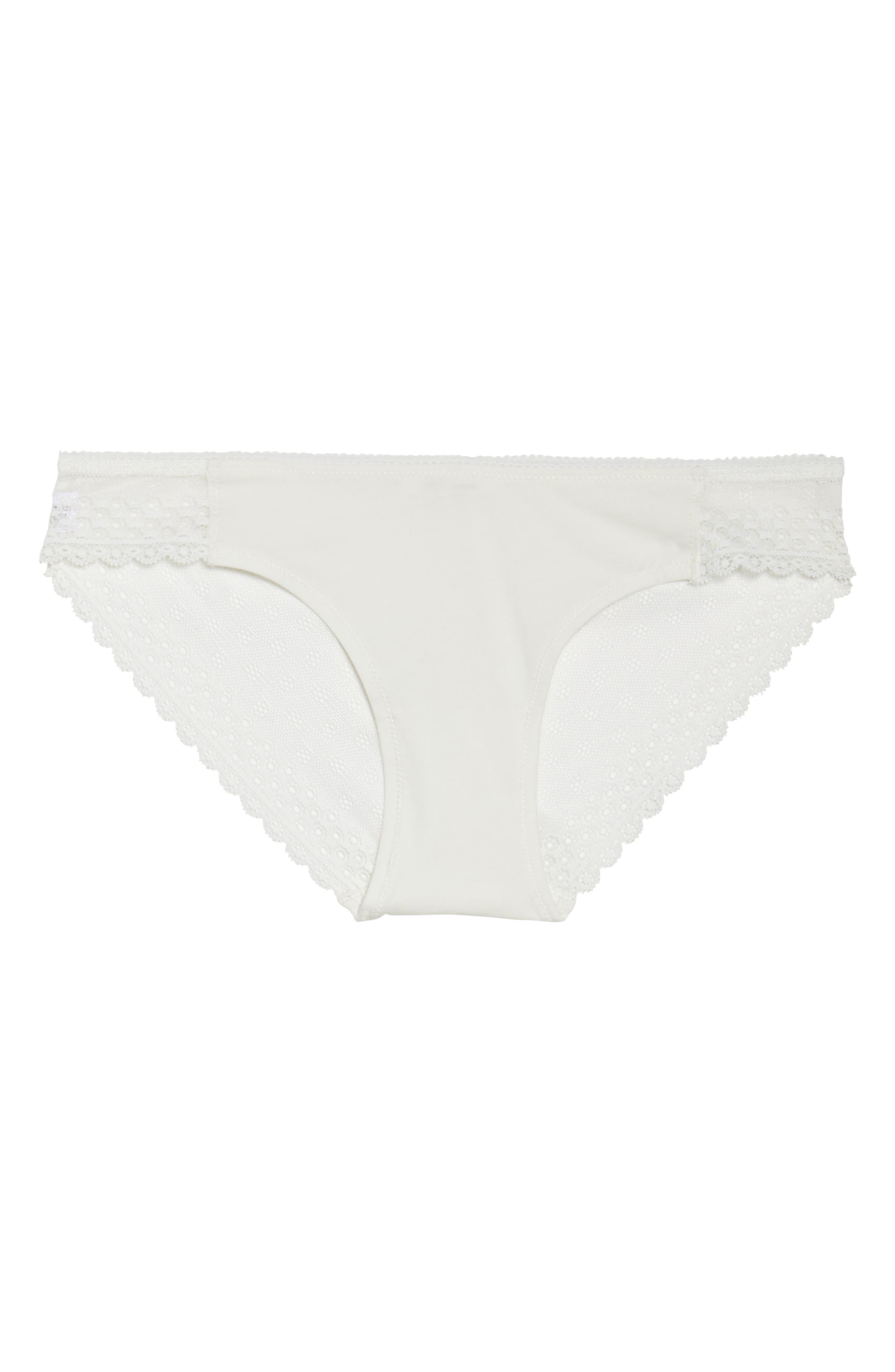 Organic Pima Cotton Blend Lace Bikini,                             Alternate thumbnail 4, color,                             White