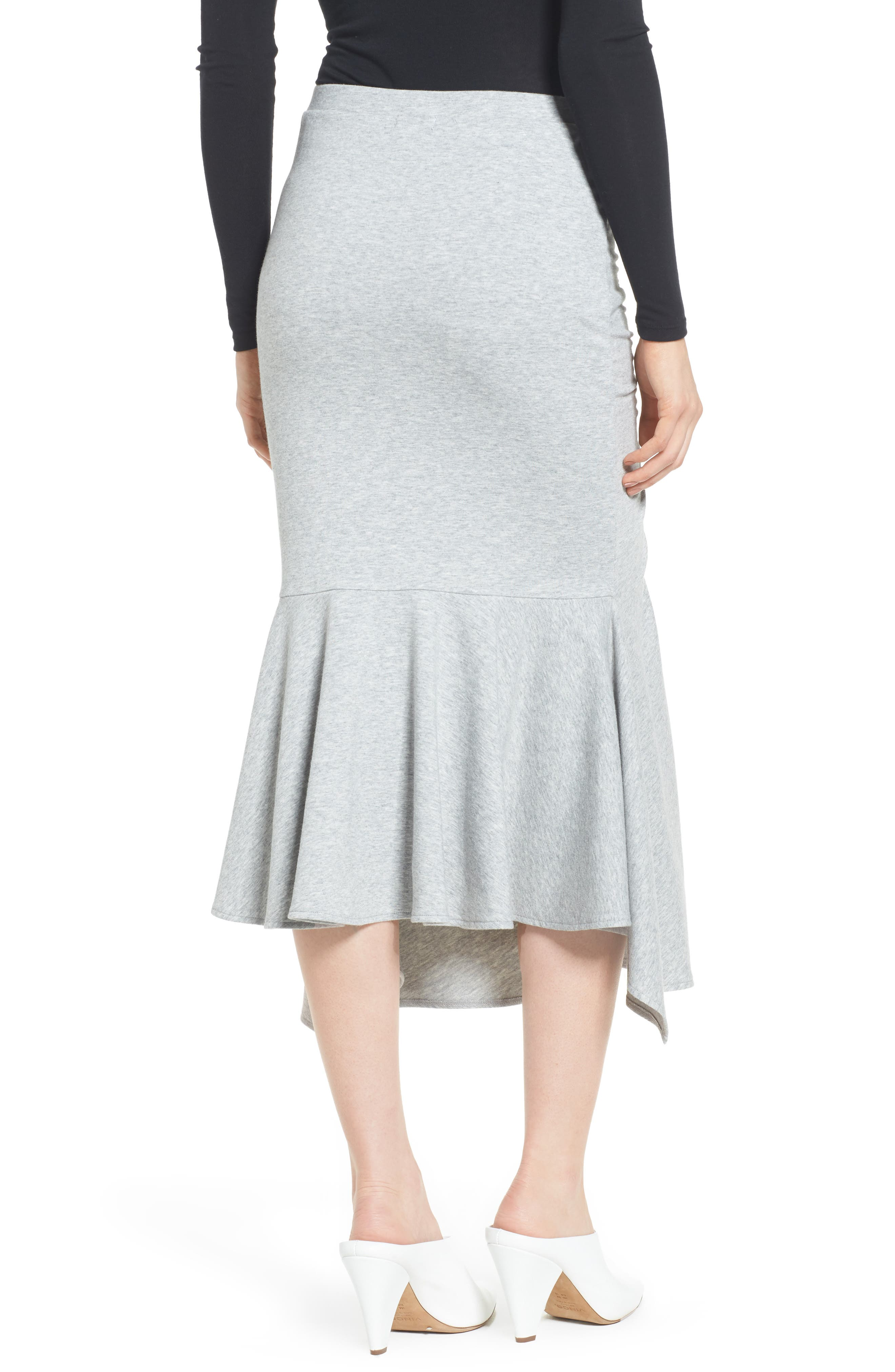 Ruched Fluted Midi Skirt,                             Alternate thumbnail 2, color,                             Grey Heather