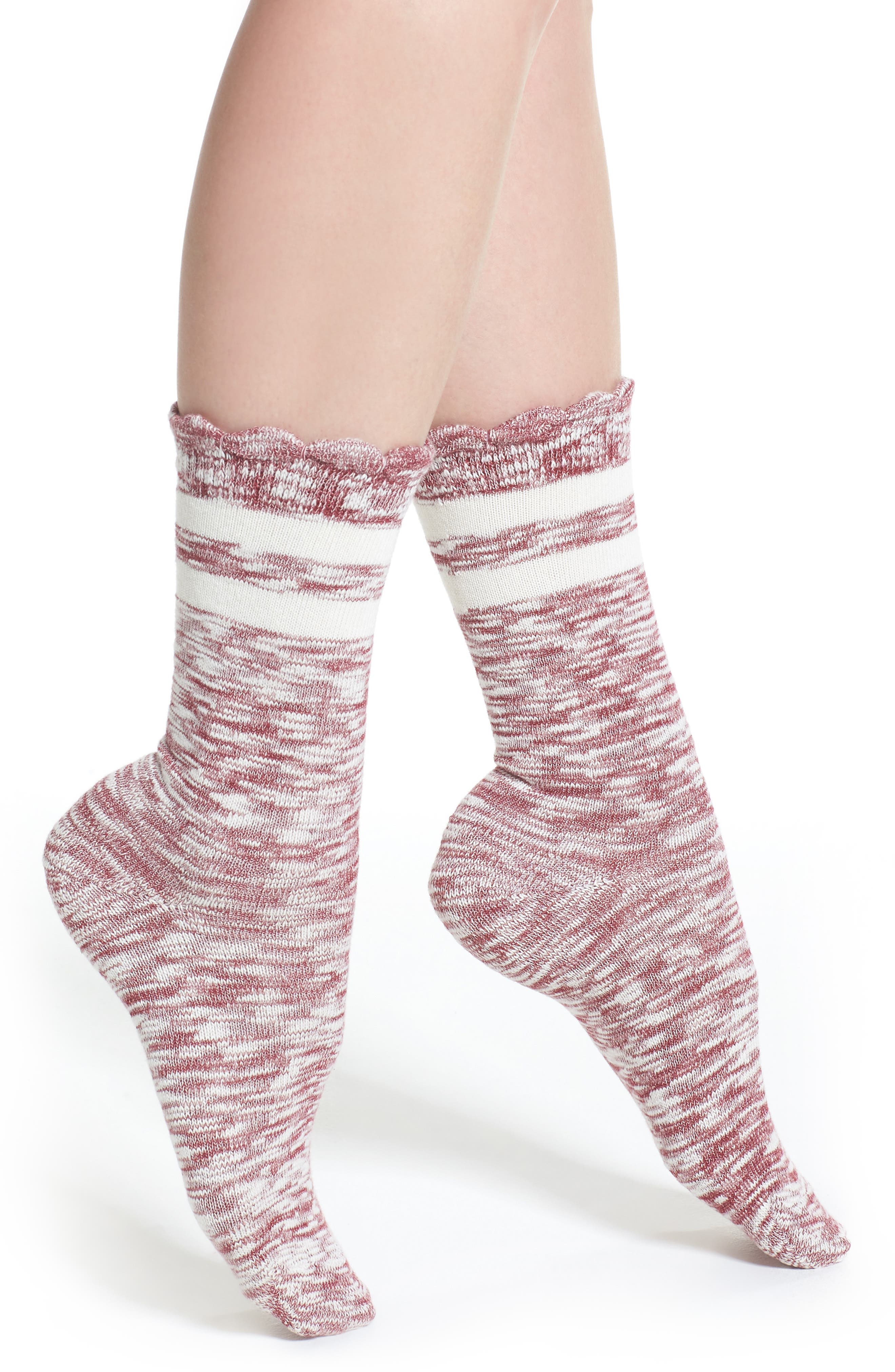 Space Dye Crew Socks,                         Main,                         color, Red Tannin