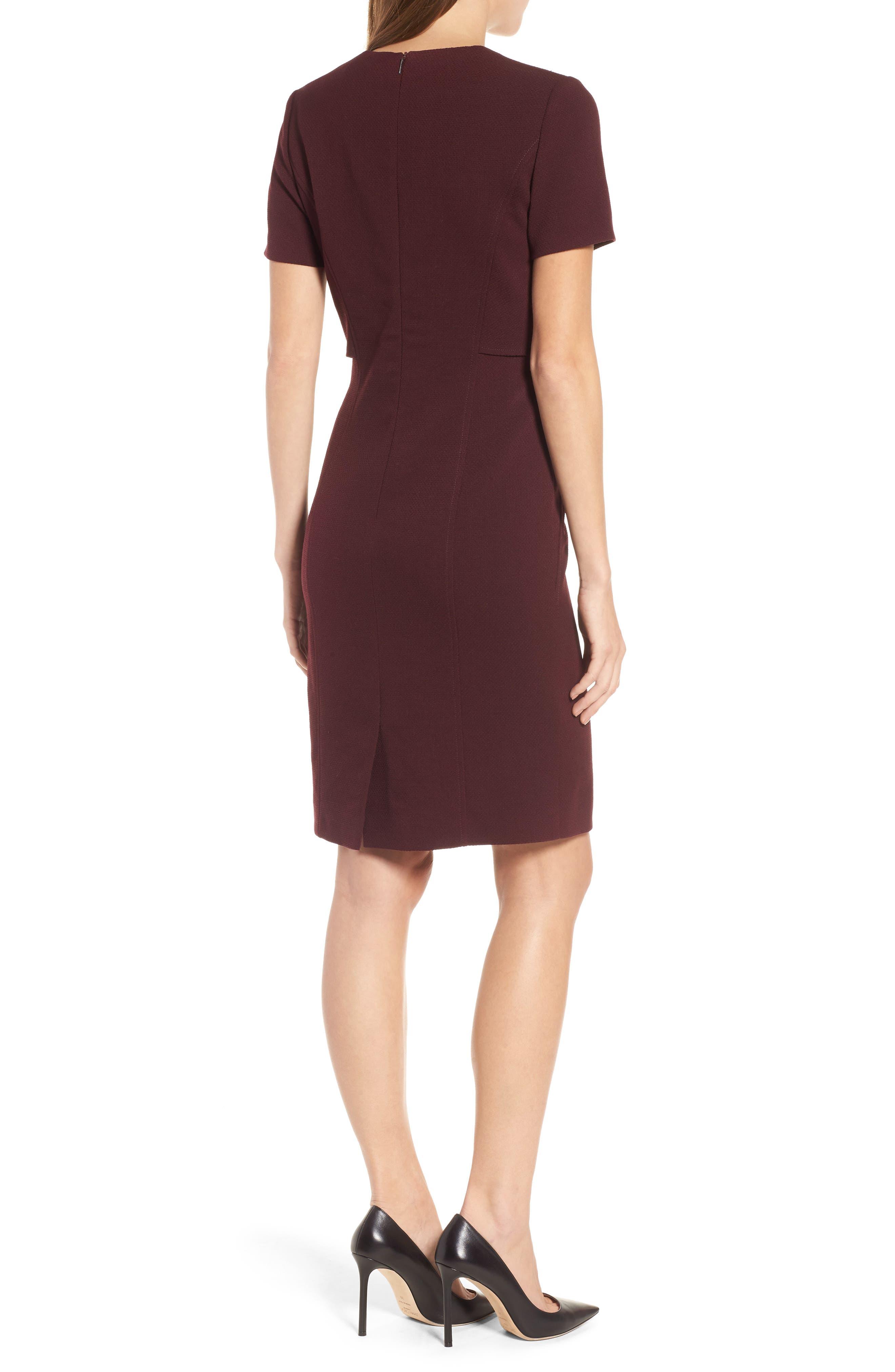 Domandia Stretch Wool Sheath Dress,                             Alternate thumbnail 2, color,                             Mulberry