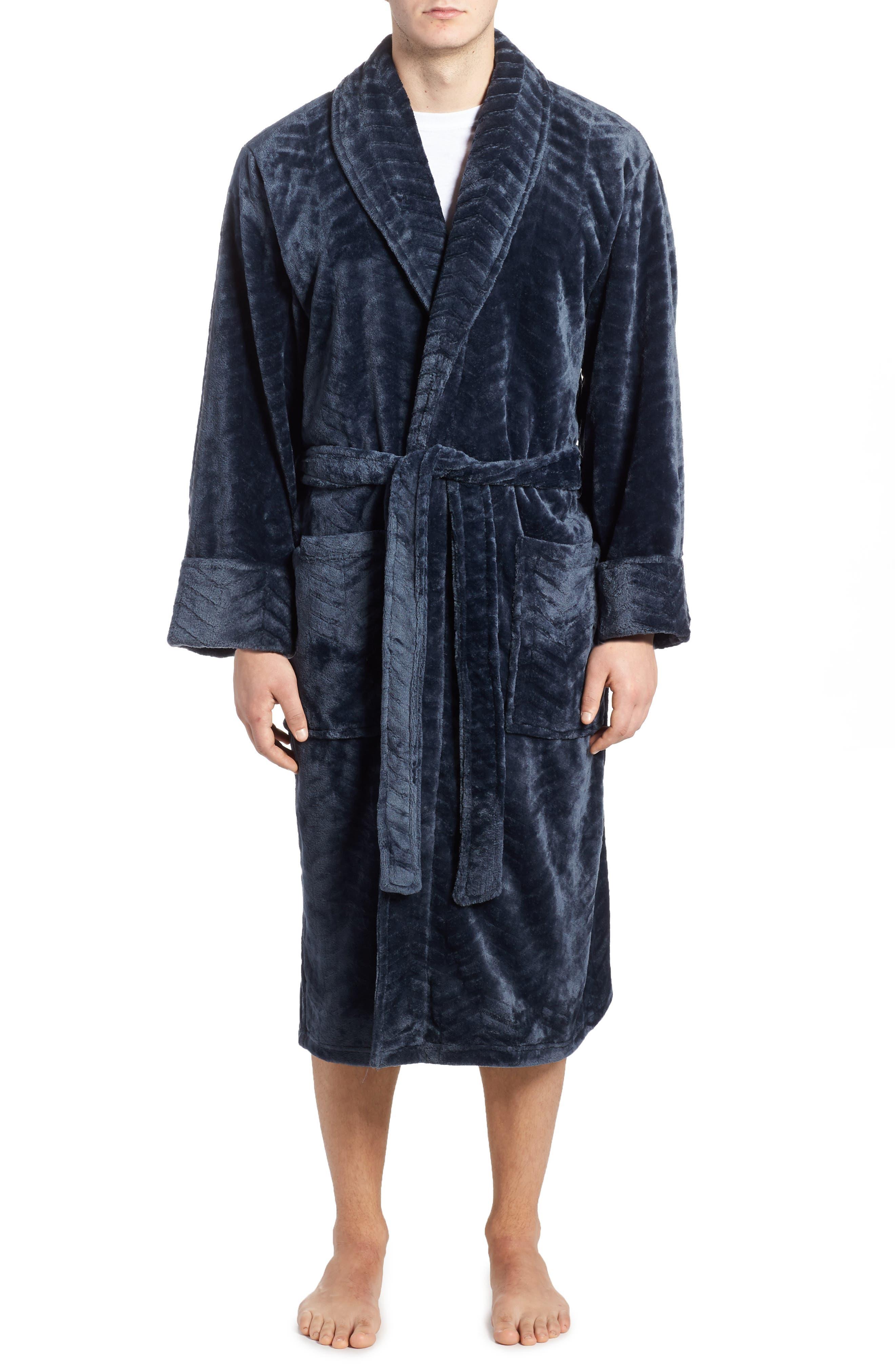 Daniel Buchler Chevron Stripe Fleece Robe