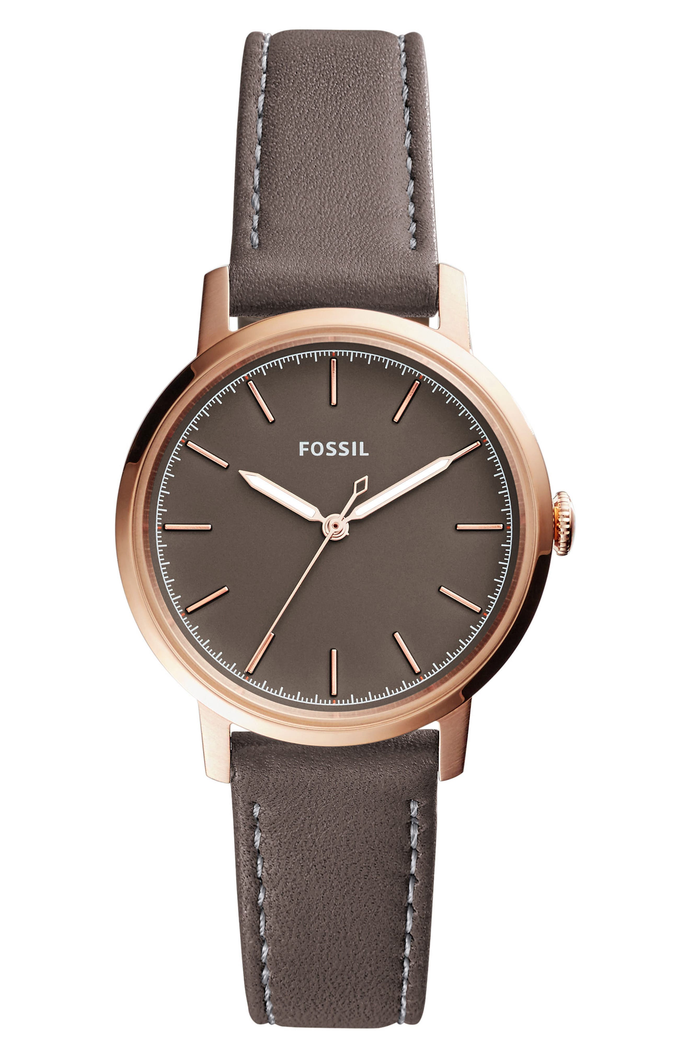 Neely Leather Strap Watch, 34mm,                         Main,                         color, Grey/ Rose Gold