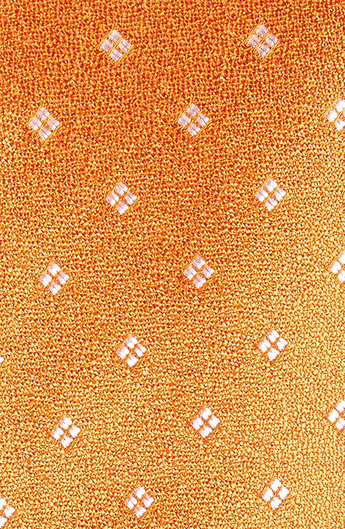 Moten Neat Silk Skinny Tie,                             Alternate thumbnail 2, color,                             Orange