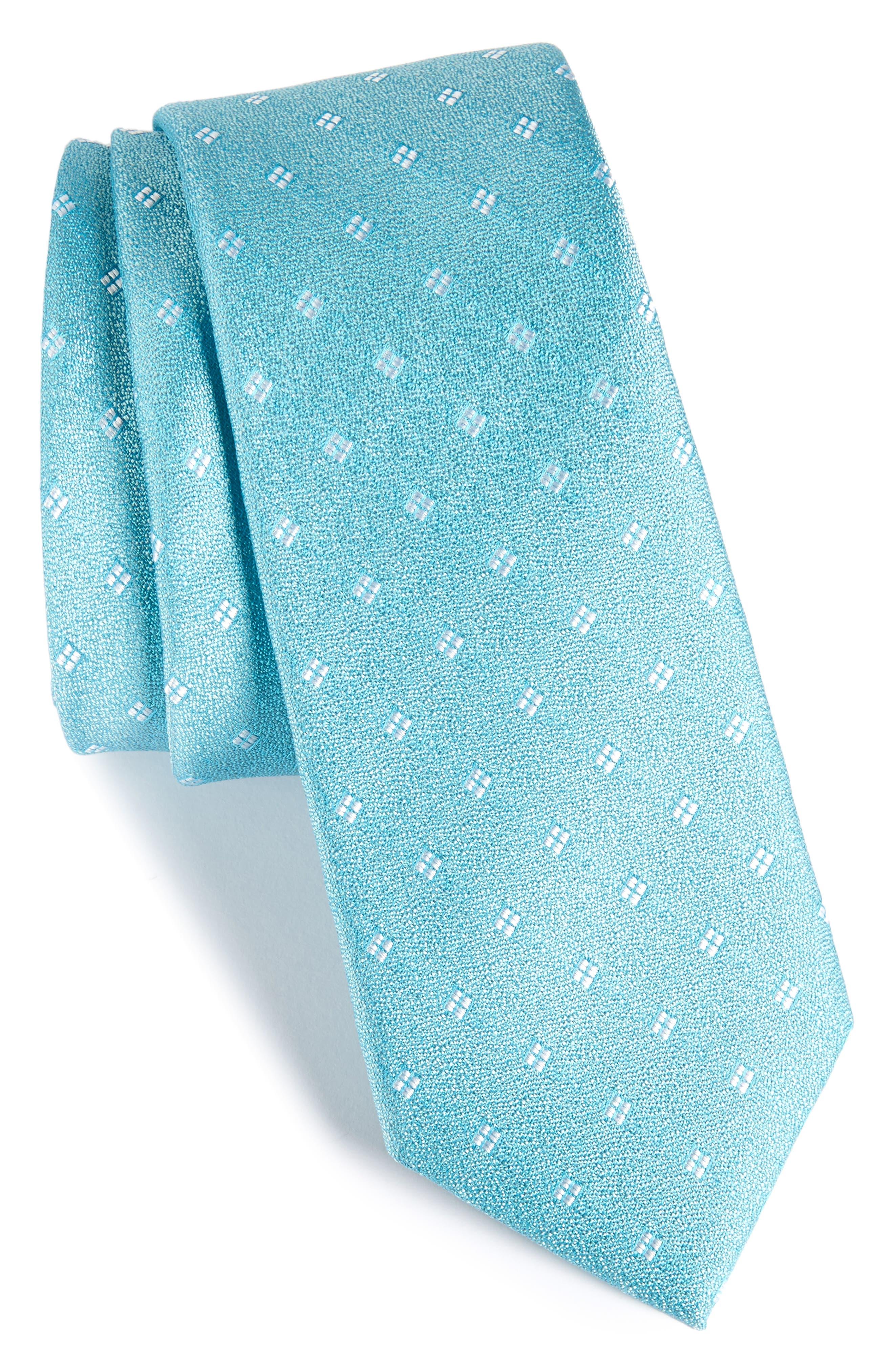 Moten Neat Silk Skinny Tie,                             Main thumbnail 1, color,                             Aqua
