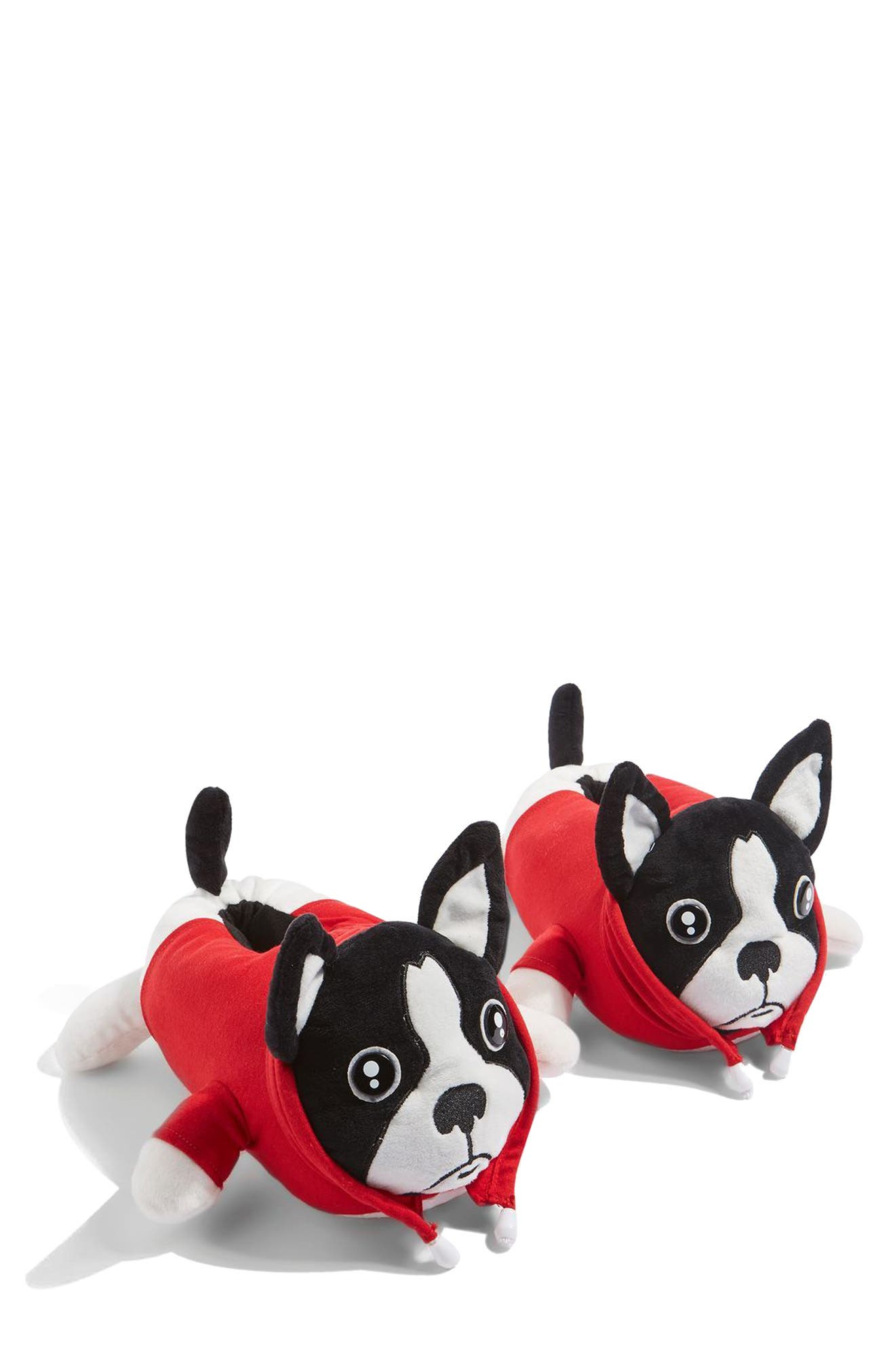 Monty Bulldog Slippers,                             Main thumbnail 1, color,                             Red Multi