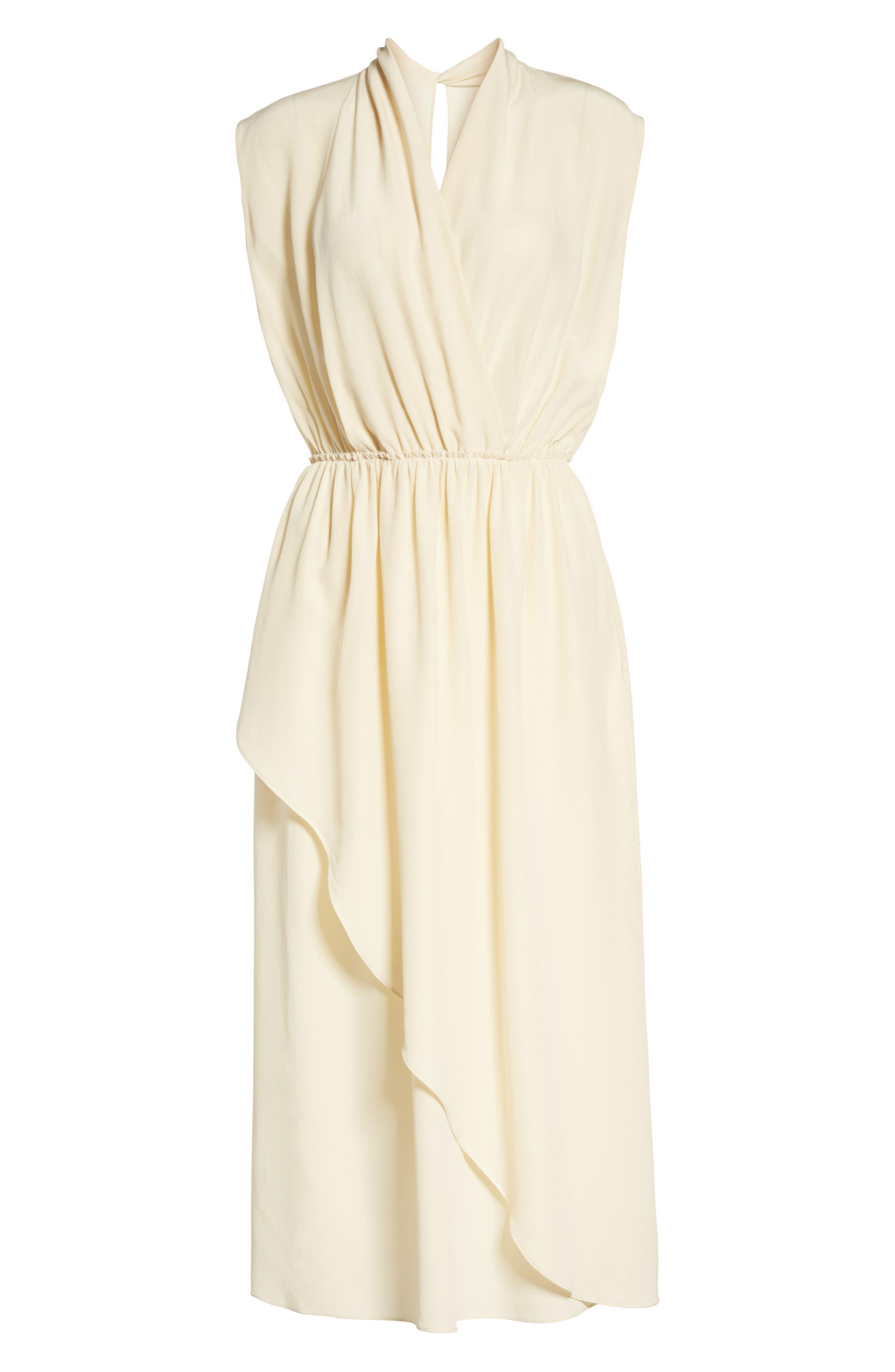 Draped Silk Cross Front Dress,                             Alternate thumbnail 6, color,                             Buttercream