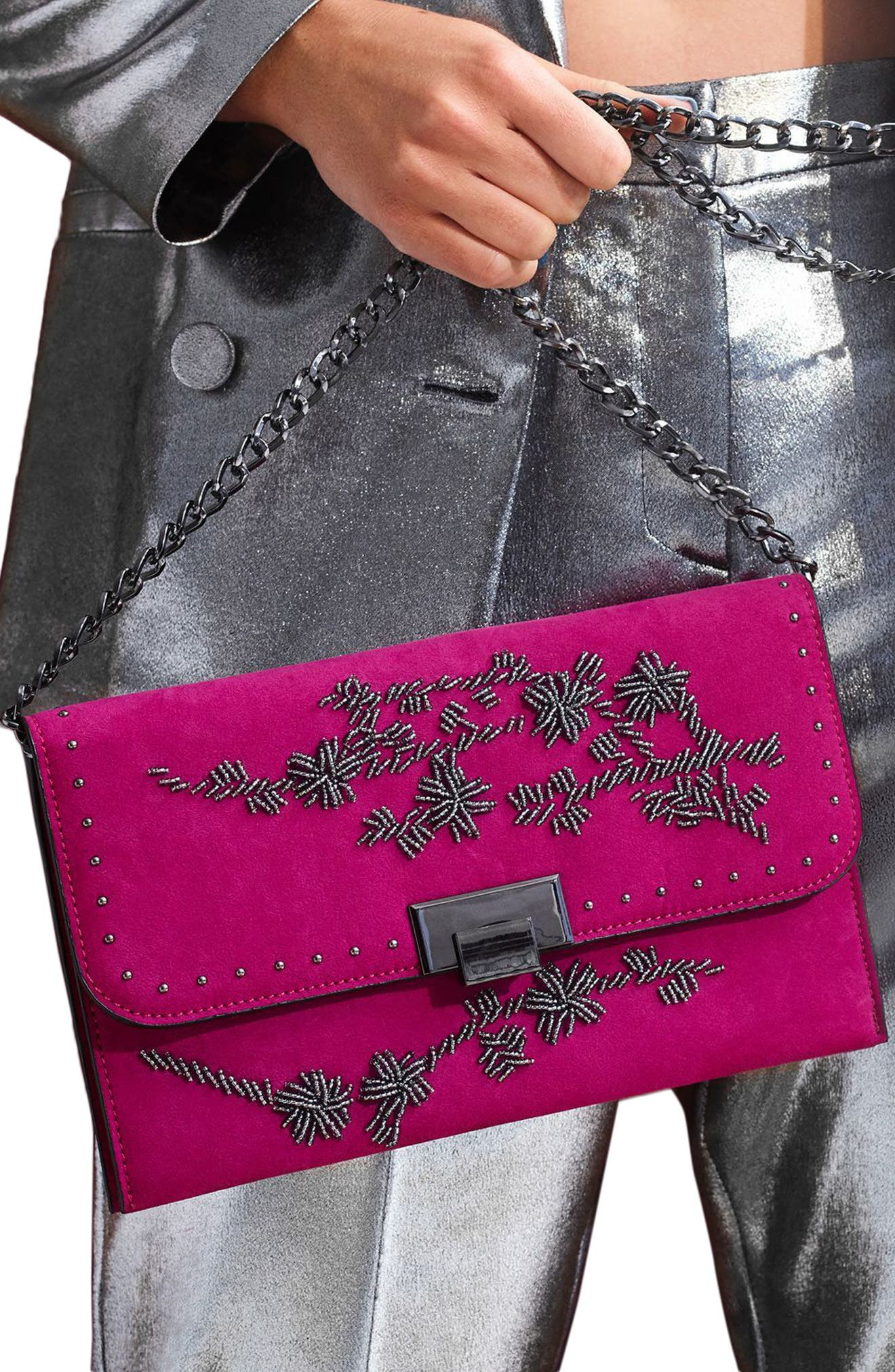 Floral Beaded Convertible Clutch,                             Alternate thumbnail 2, color,                             Pink Multi